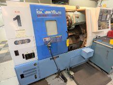 "2004 HYUNDAI KIA SKT-15LMS CNC TURNING CENTER WITH SUB SPINDLE, FANUC OI-TB CNC CONTROL, 21.6"" SWING"
