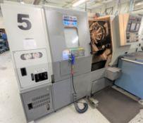 "2007 HYUNDAI KIA SKT-15LMS CNC TURNING CENTER WITH SUB SPINDLE, FANUC OI-TB CNC CONTROL, 21"" SWING"