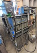 MILLER DELTAWELD 452 MIG WELDER W/ S-22A WIRE FEEDER, CABLES, STAND AND MILLER XR CONTROL W/ XR15A