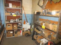 LOT OF MIXED METAL AND MOTORS IN DIE STORAGE ROOM (INCLUDING 2 SHELVING UNITS)
