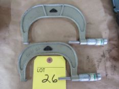 """Lot of 2 Micrometers: (1) H.D. 3"""" - 4"""" - .0001; (1) DAO 4"""" - 5"""" - .0001"""""""
