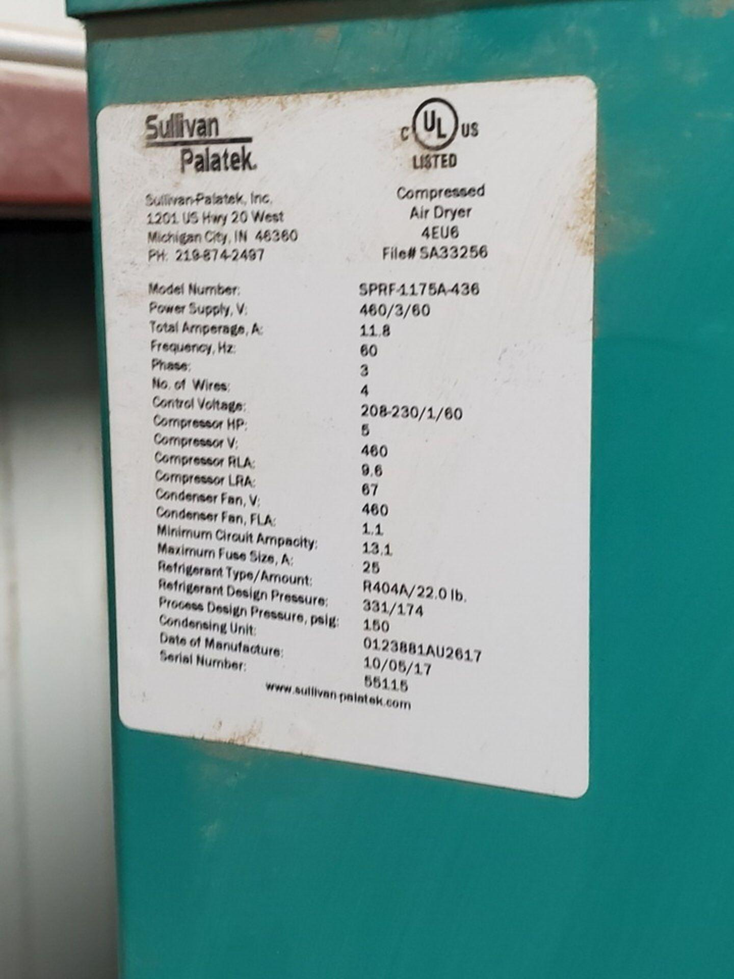 2017 Sullivan Palatek SPRF-1175A-436 Air Dryer 460V, 11.8A, 5HP, 150psi - Image 5 of 5