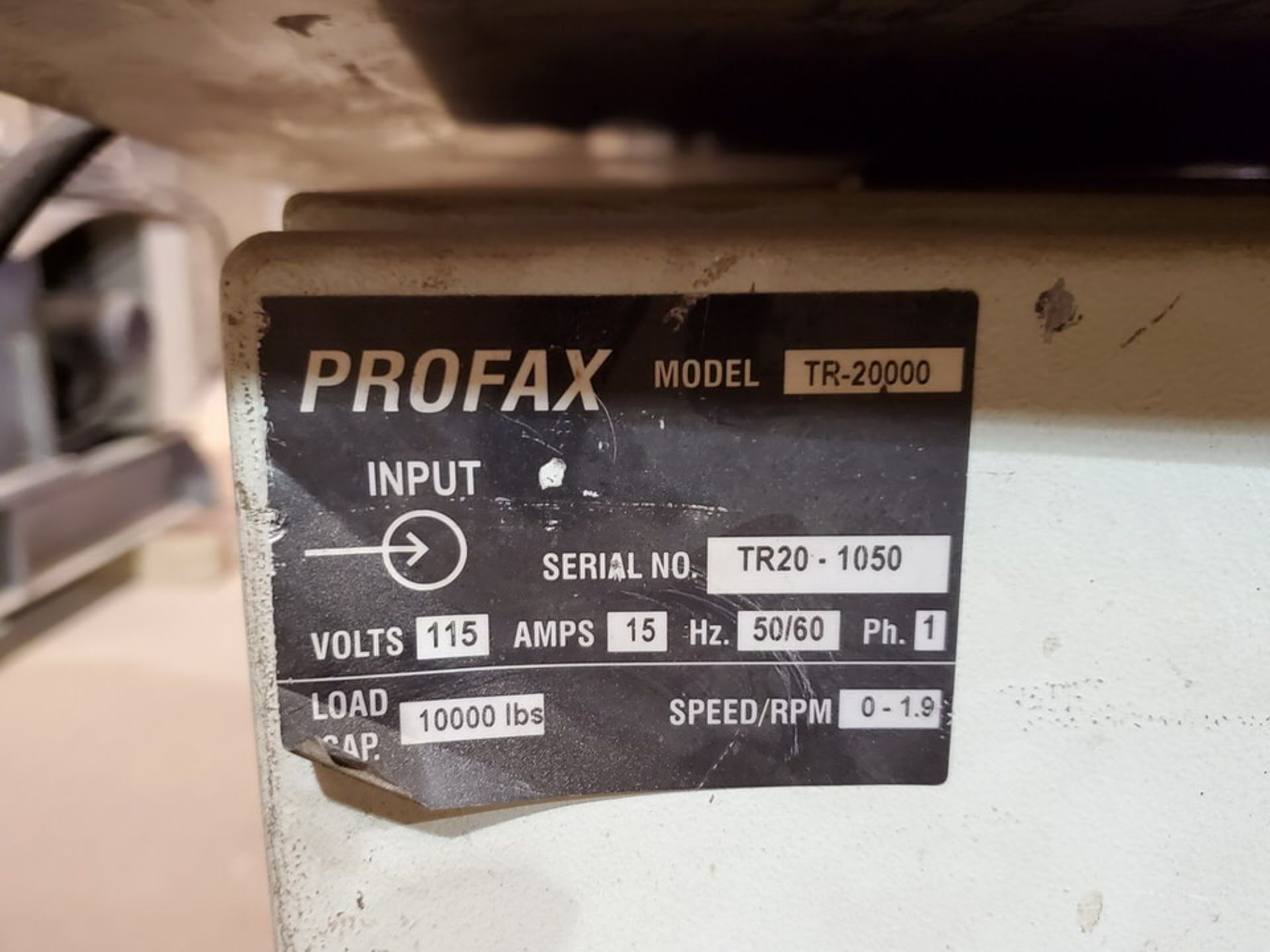 "Profax TR-20000 Turn Roll 10K Cap., 115V, 15A, 50/60HZ, 1PH, RPM: 0-1.9; 5"" Wheel Dia. - Image 8 of 8"