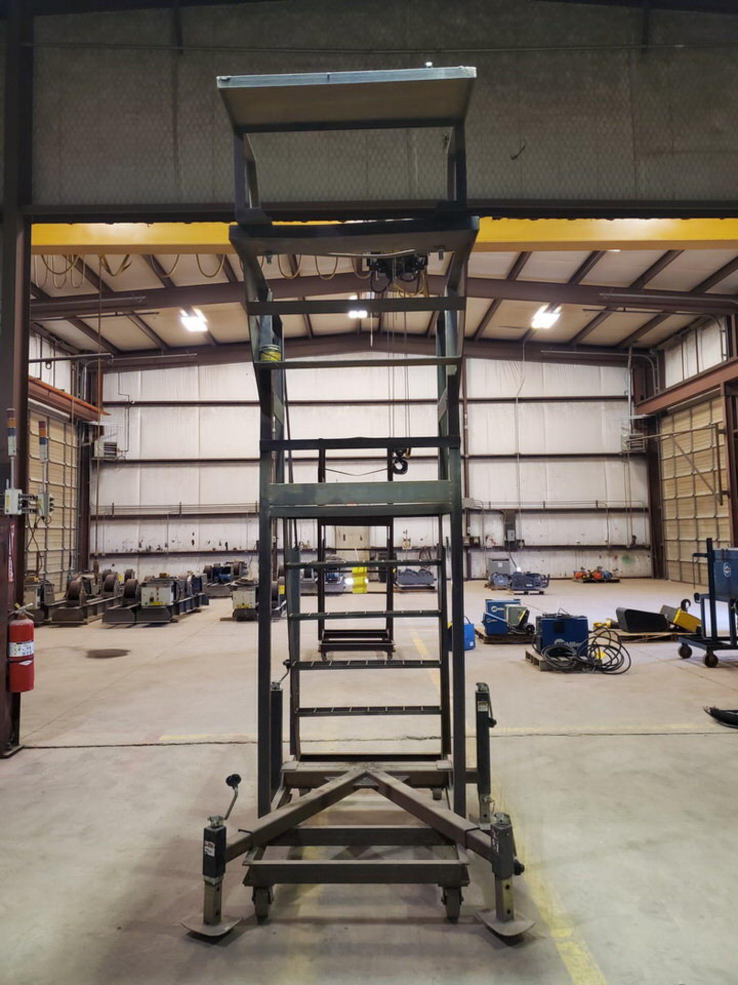 """Stl 4-Step Roling Platform Ladder 6' x 4'6"""" x 10'H; 7K Cap. - Image 6 of 8"""