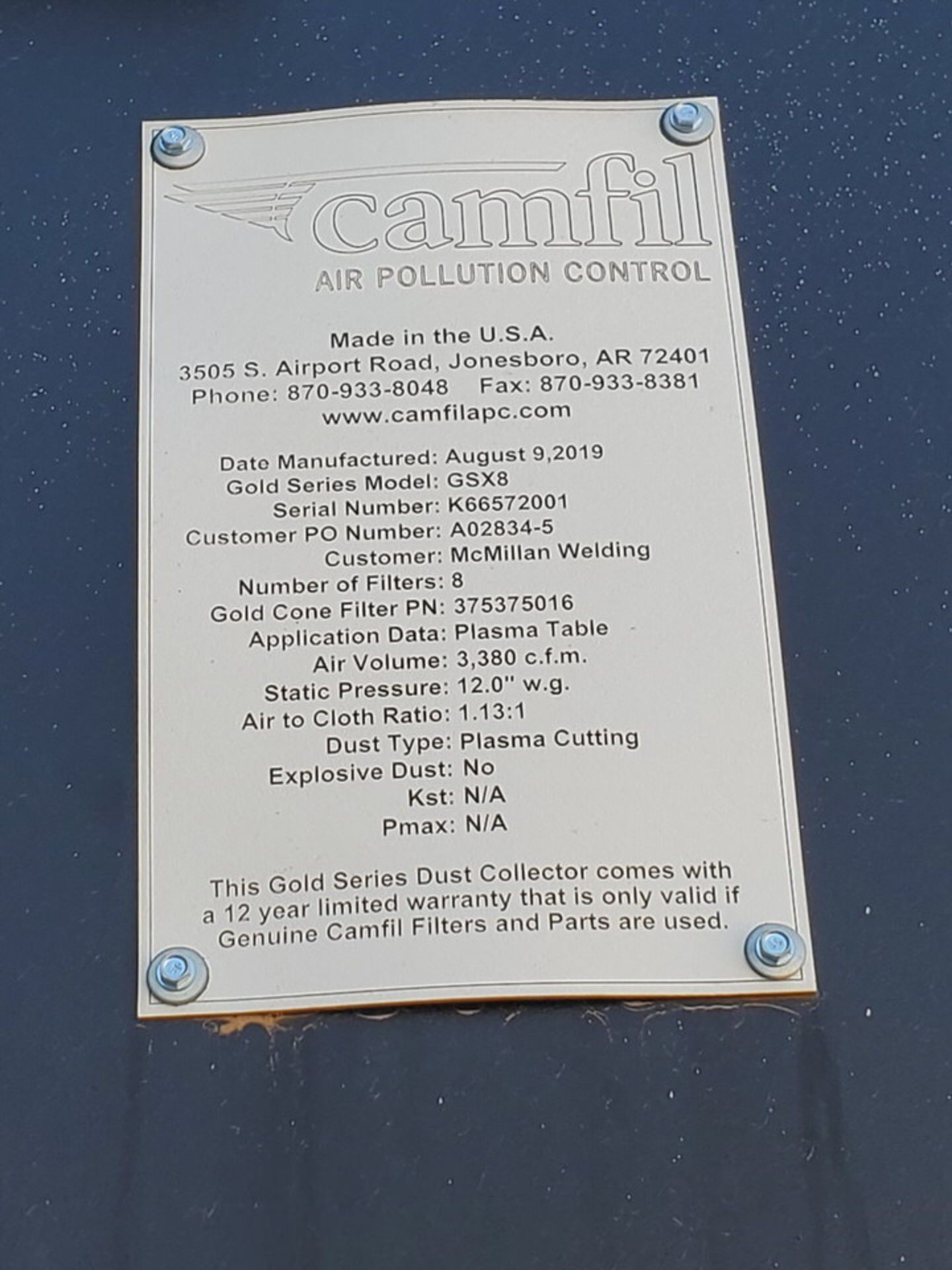 2019 Camfil GSX8 Dust Collector 3,380CFM - Image 5 of 8