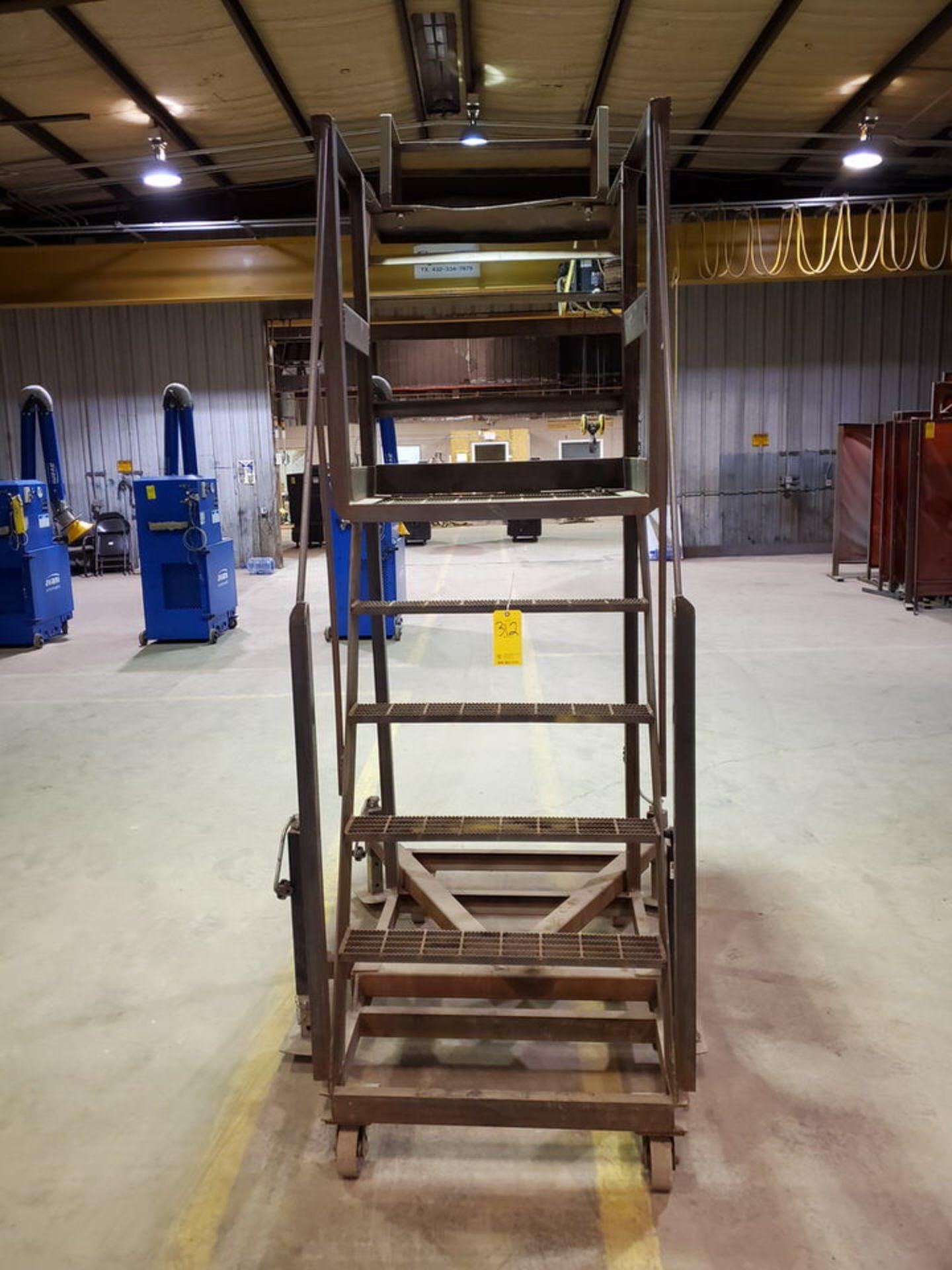 """Stl 4-Step Roling Platform Ladder 6' x 4'6"""" x 10'H; 7K Cap. - Image 2 of 8"""