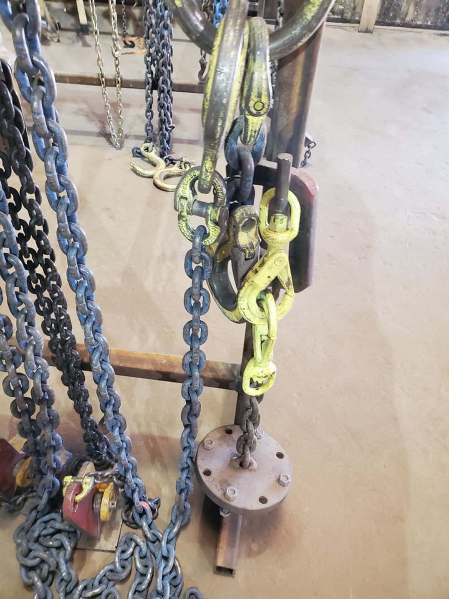 Assorted Lifting Chains & Straps W/ Rack 1 Ton & Other - Image 4 of 8