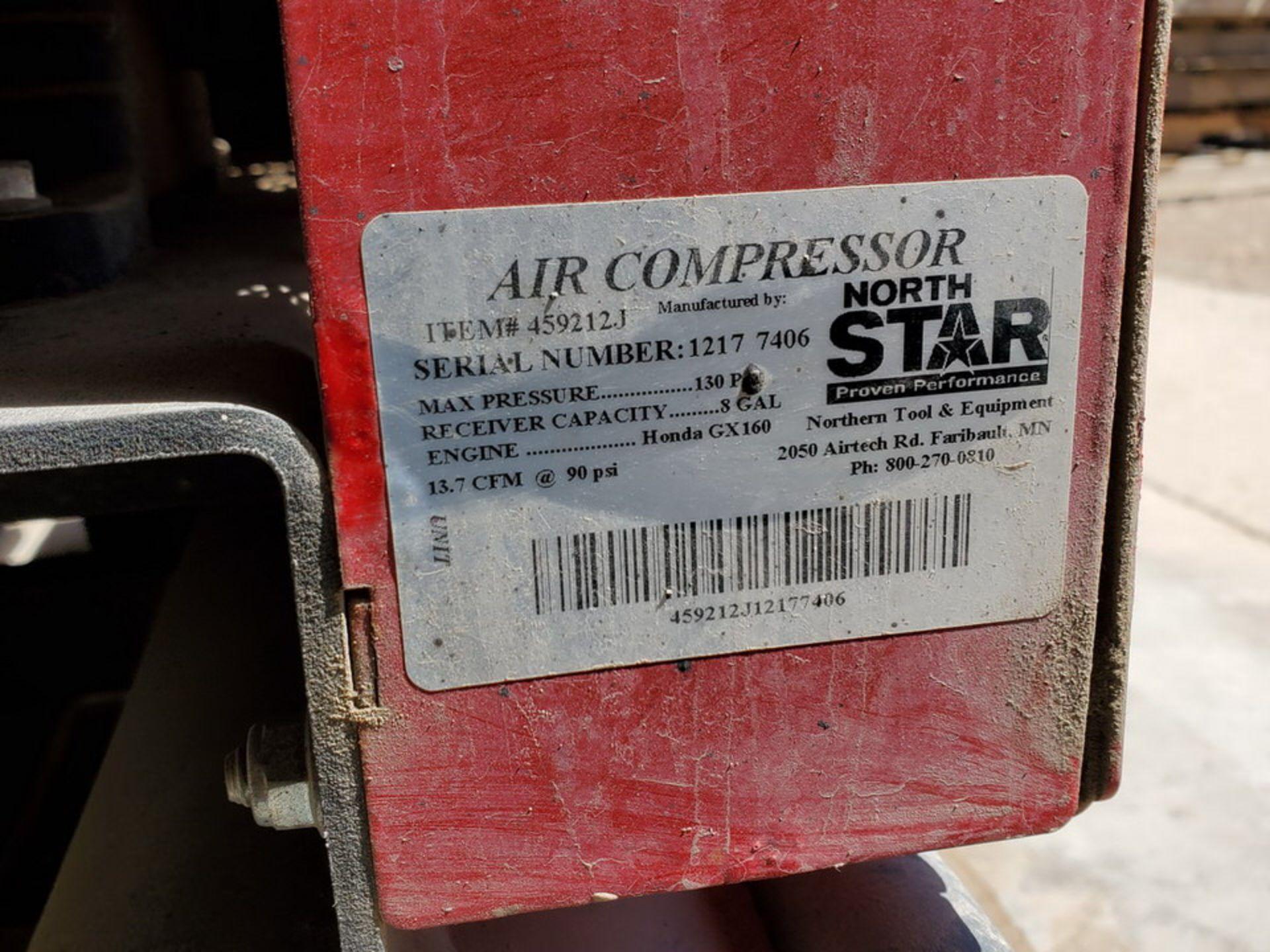 North Star Air Compressor 130psi, 8Gal Cap., W/ Honda GX160 Engine, 15.7CFM@90psi - Image 6 of 6