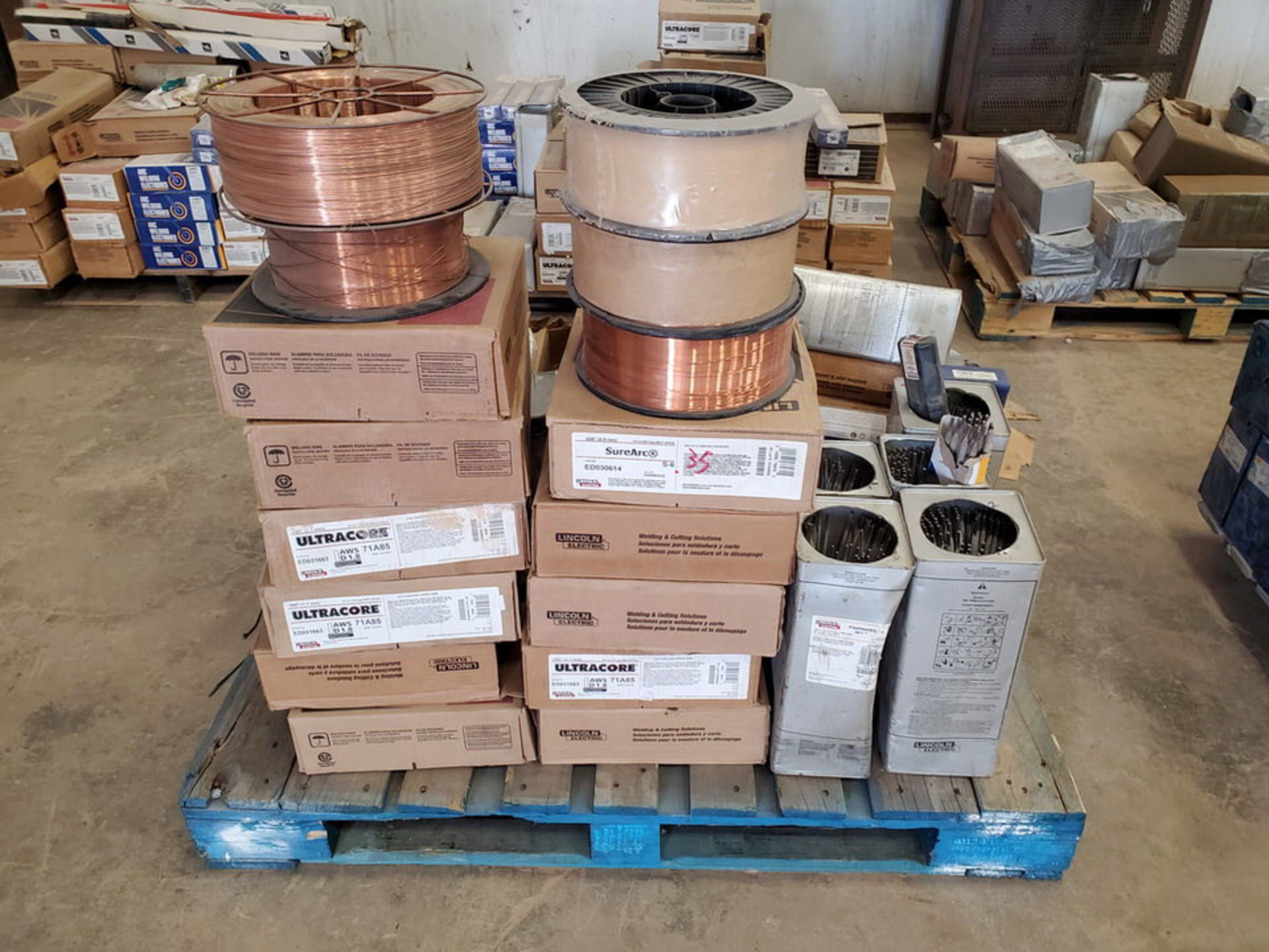 "LE & Radnor, etc. Assorted Welding Rods & Cored Spool Wire Size Range: 3/16"" x 12"" - 3/16"" 14"""