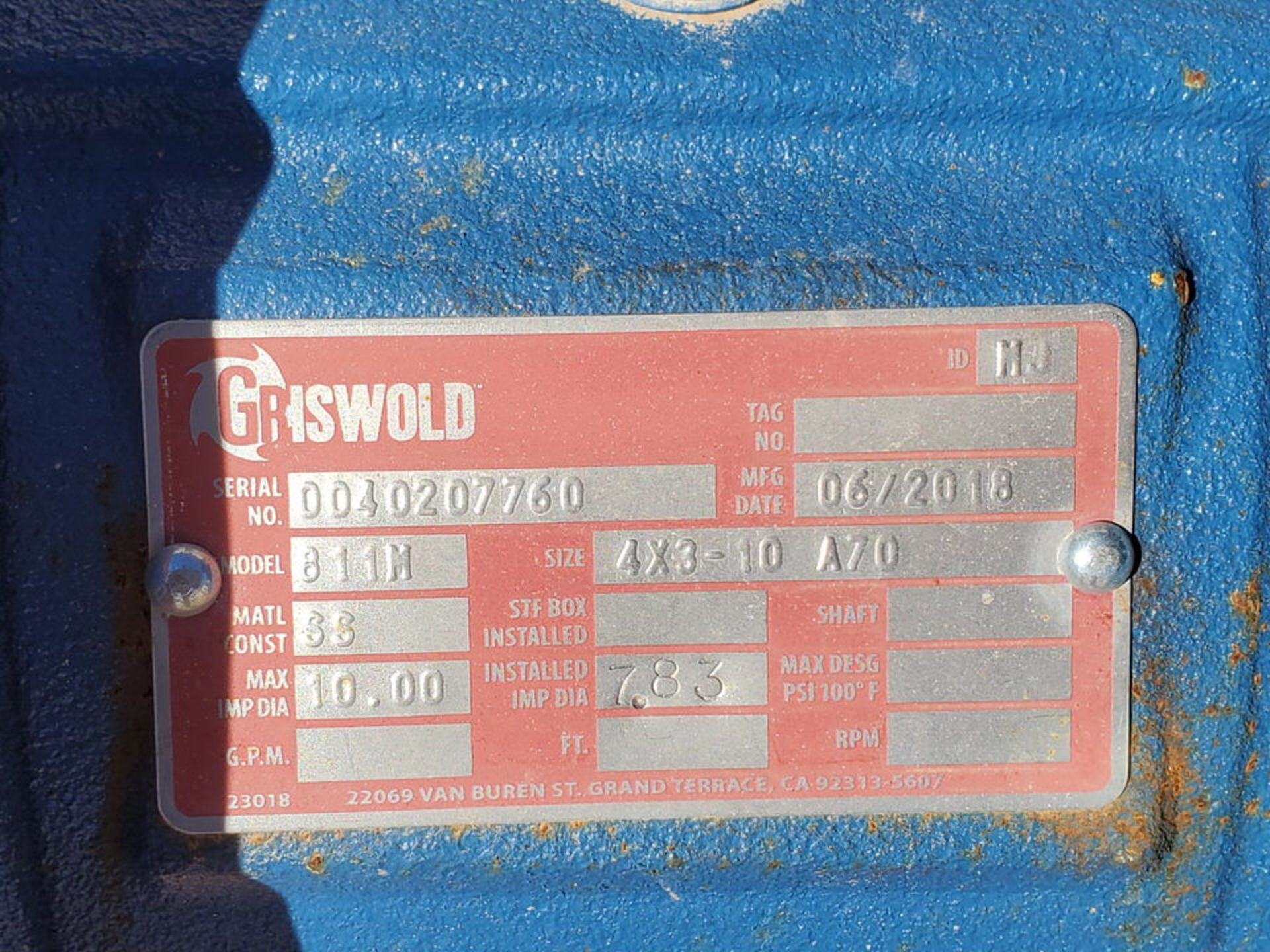 2018 Griswold 811M Centrifugal Pump Size: 4 x 3-10, 7.83 Imp Dia; W/ 50HP Motor - Image 7 of 8