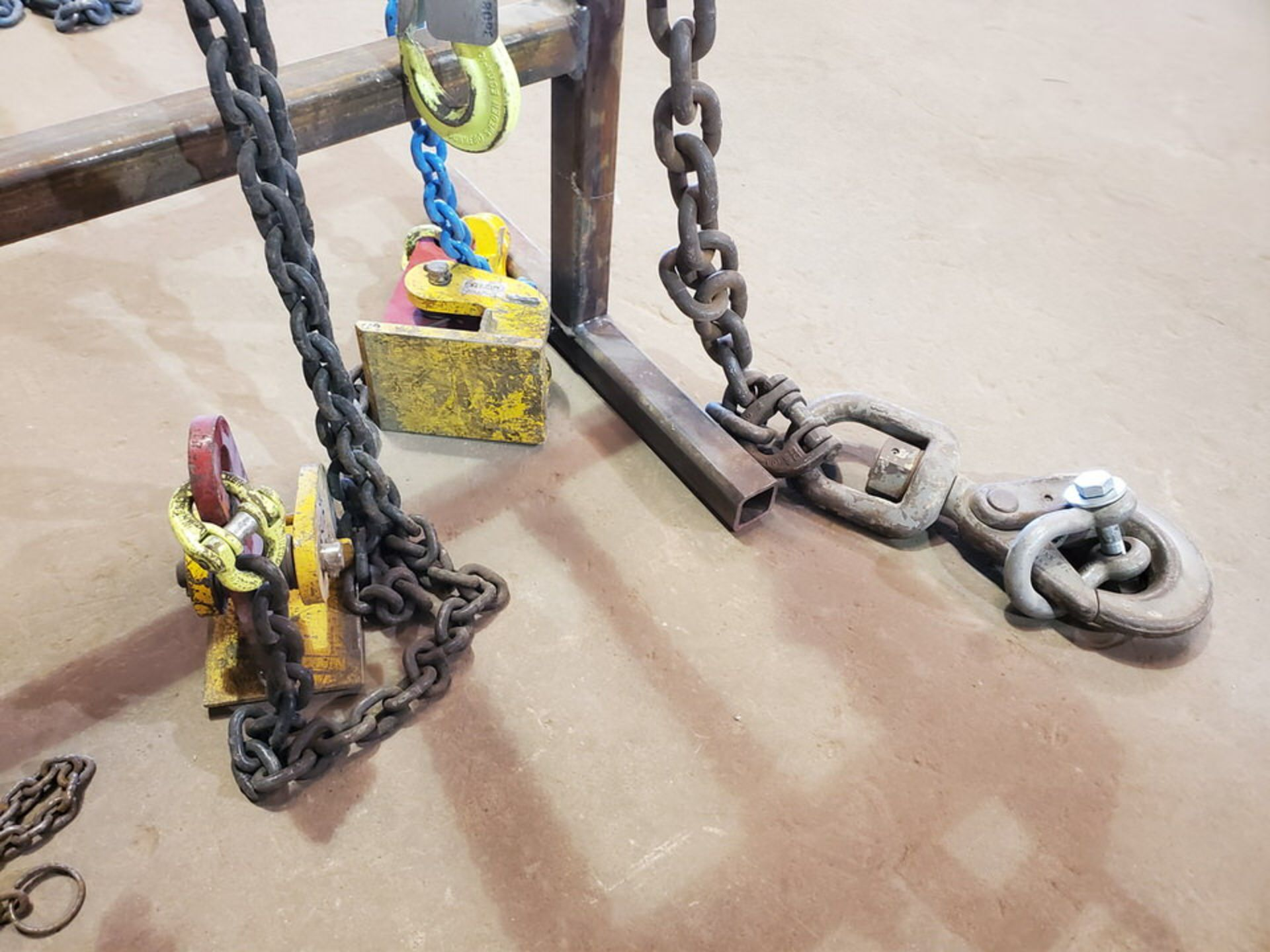 Assorted Lifting Chains & Straps W/ Rack 1 Ton & Other - Image 7 of 8
