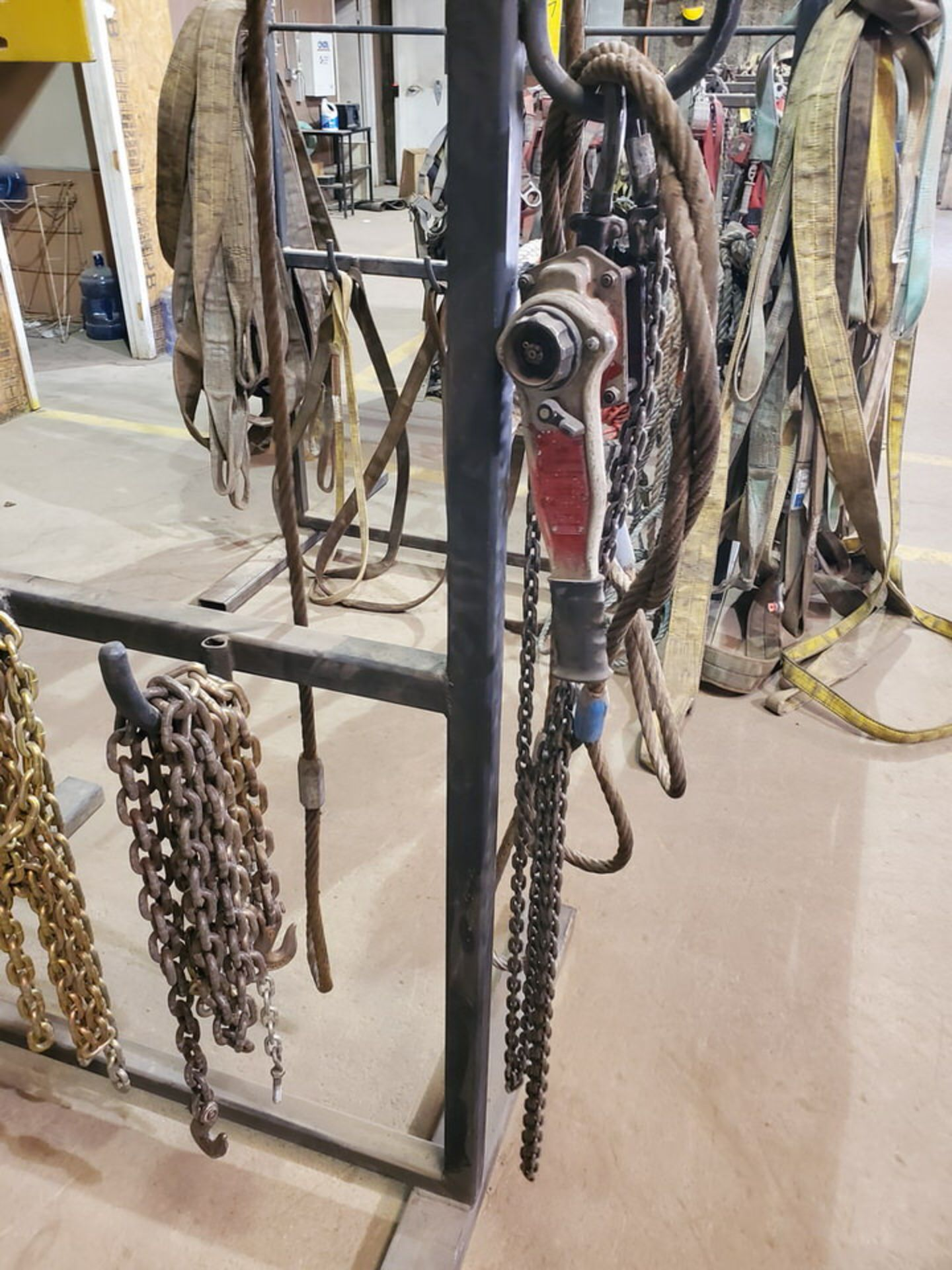 Assorted Lifting Stl Slings & Chains W/ Rack - Image 6 of 7