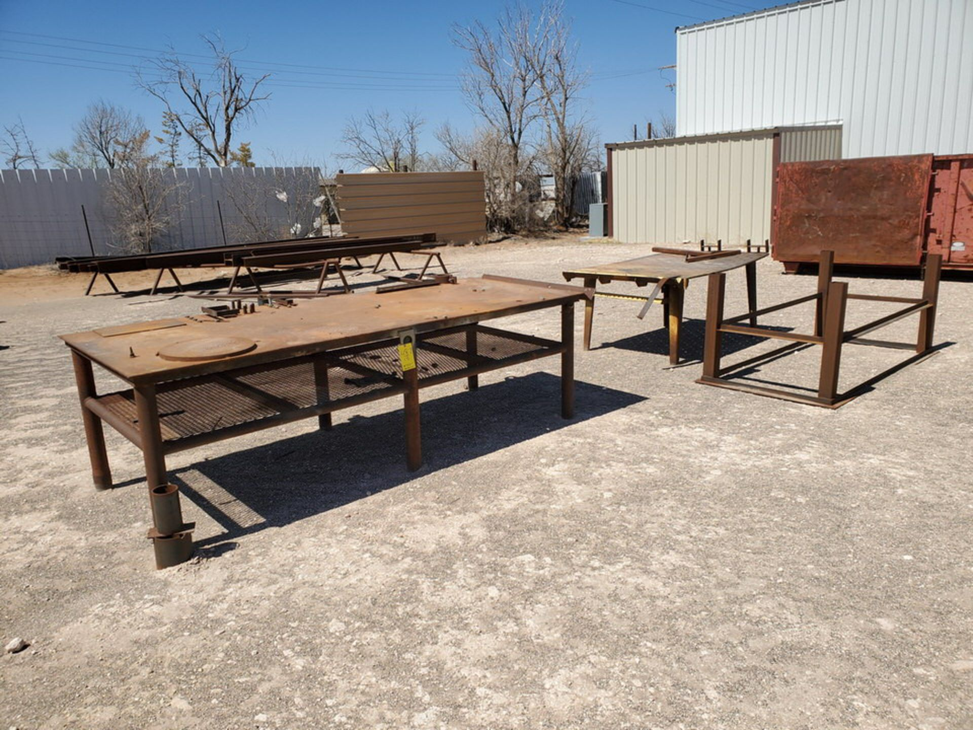 "(2) Welding Tables (1) 4' x 10'6"" x 3', (1) 48"" x 76"" x 32""; W/ Table Frame, 42"" x 78"" x 36"""