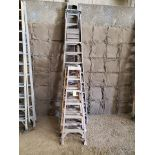 (5) Assorted Fiberglass Platform Ladders Sizes: (3) 6', (2) 14'