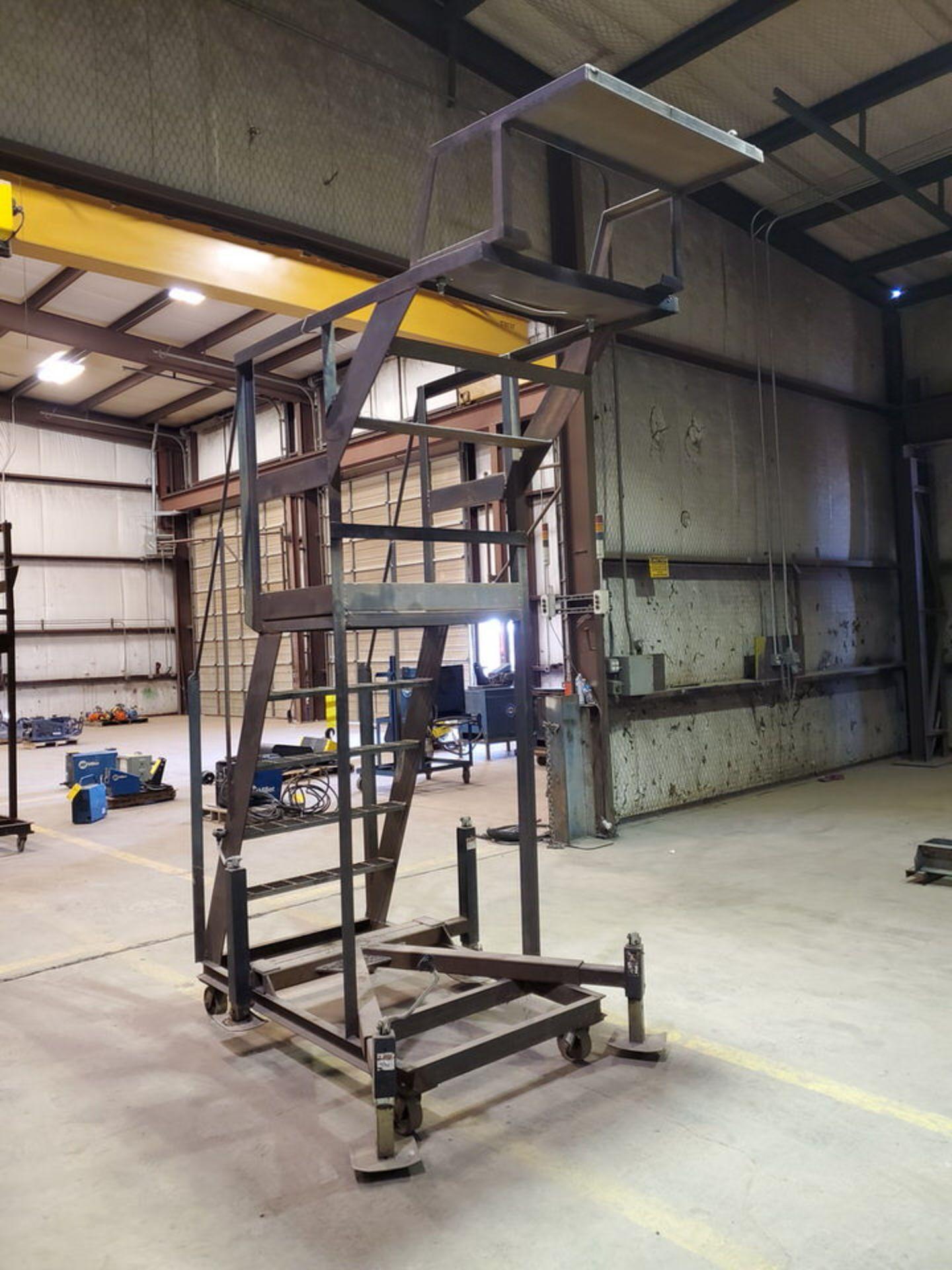 """Stl 4-Step Roling Platform Ladder 6' x 4'6"""" x 10'H; 7K Cap. - Image 7 of 8"""