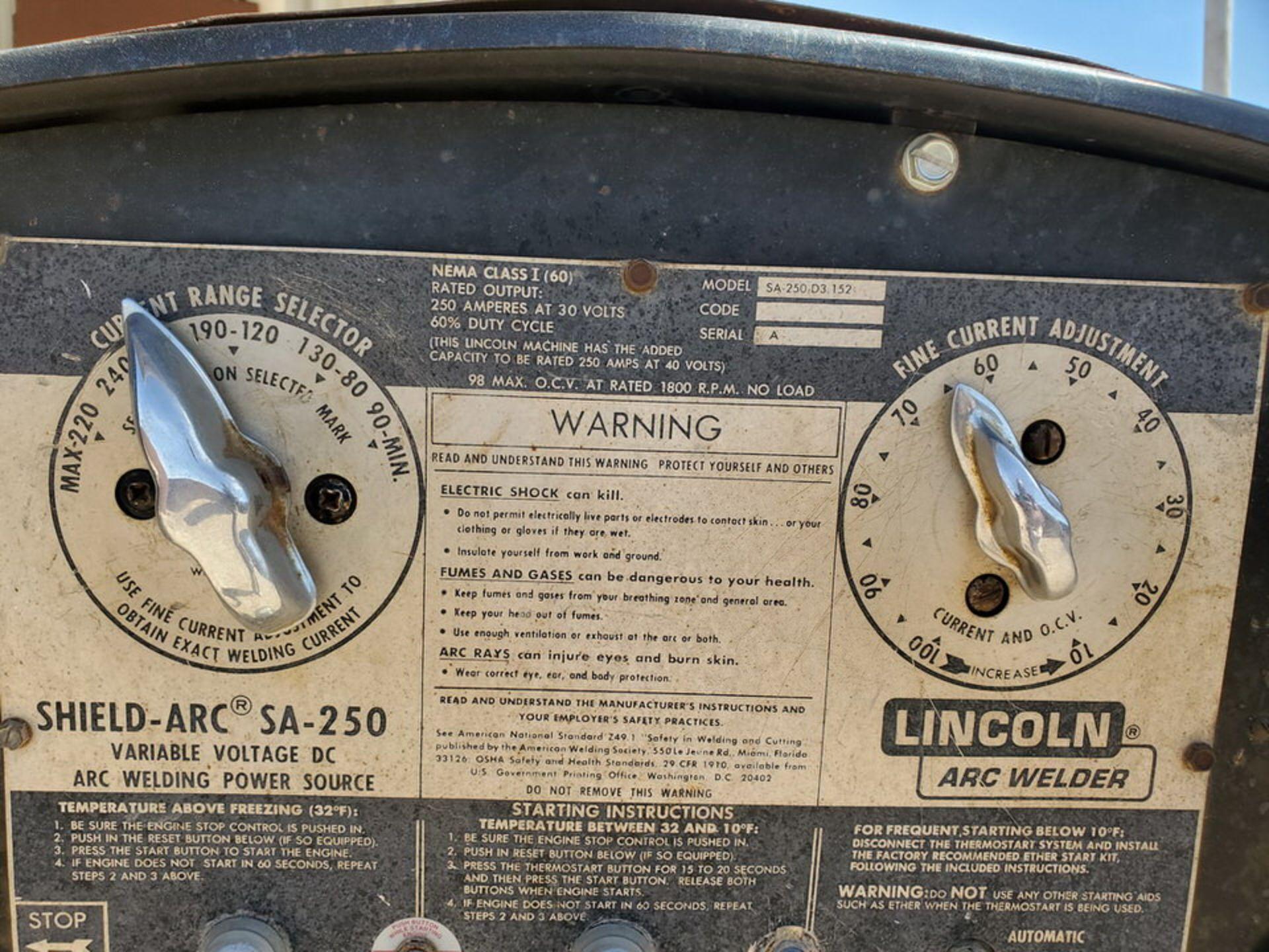Lincoln Sa-250D3.152 Arc Welder - Image 9 of 11