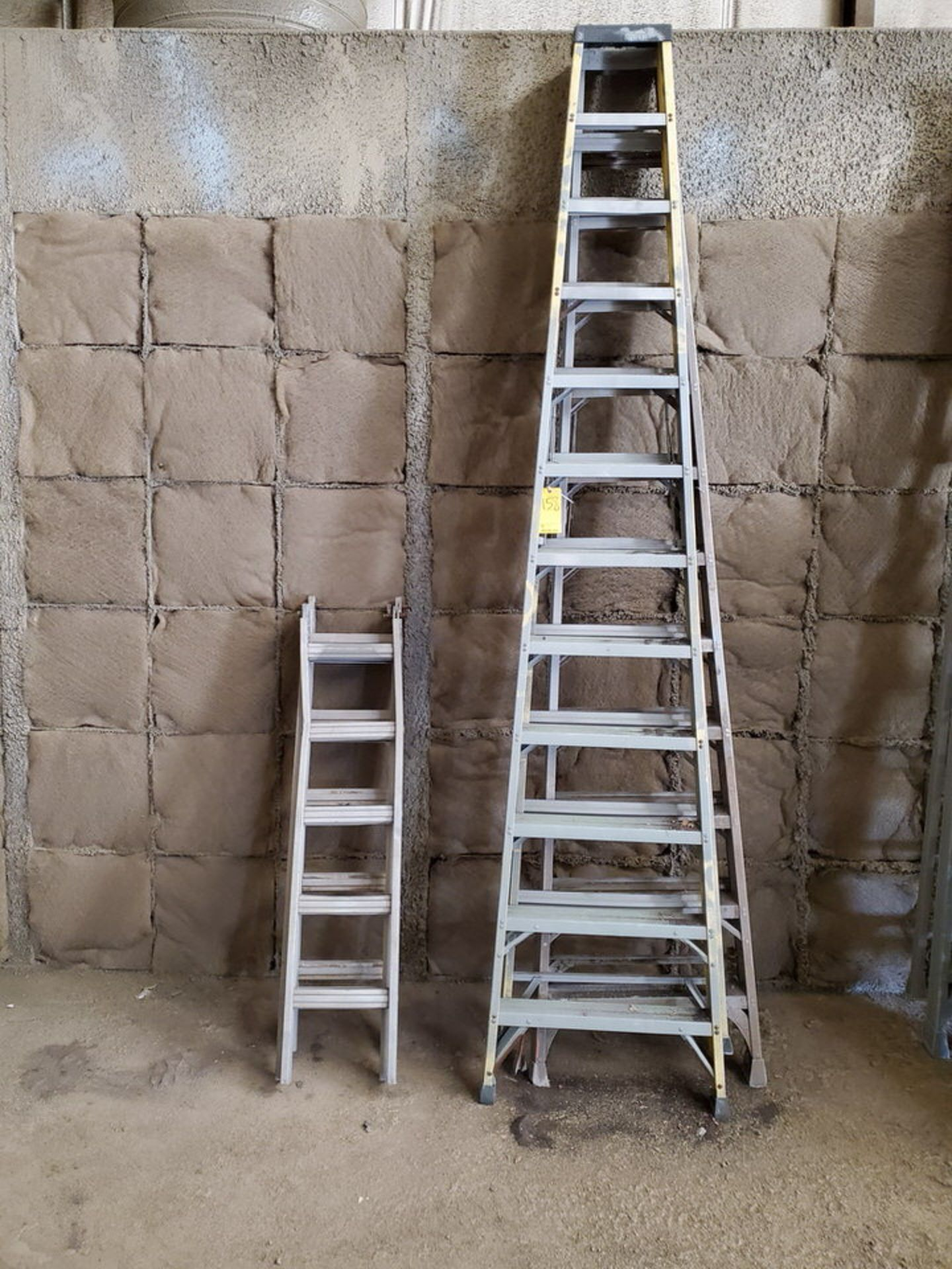 (4) Assorted Fiberglass Platform Ladders Sizes: (2) 4', (2) 14'