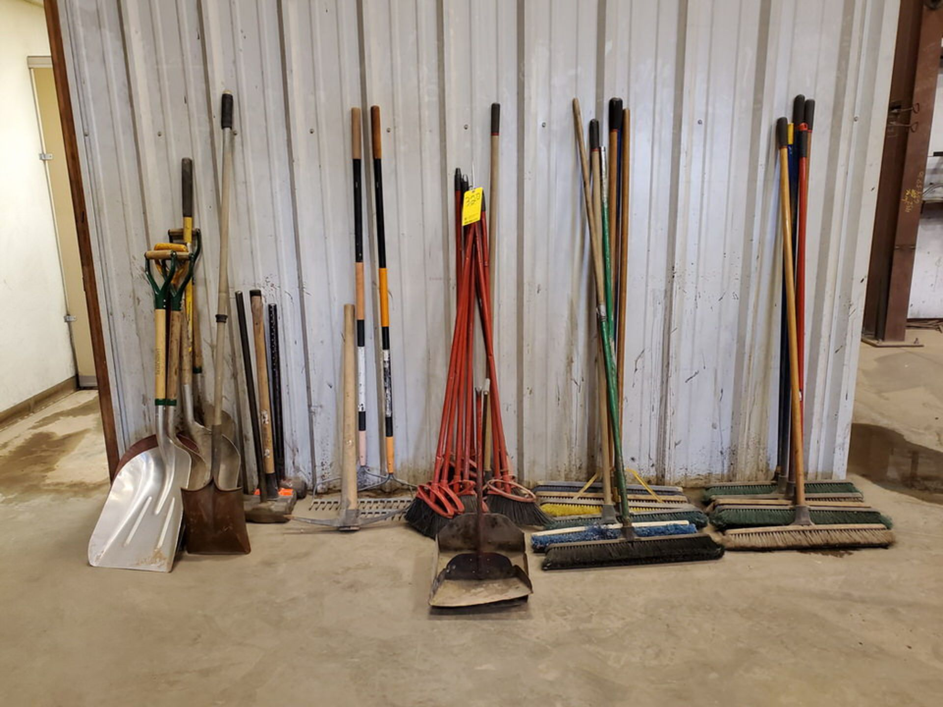 Assorted Cleaning & Yard Matl To Include But Not Limited To: Brooms, Shovels, Rakes, Dust Pans,