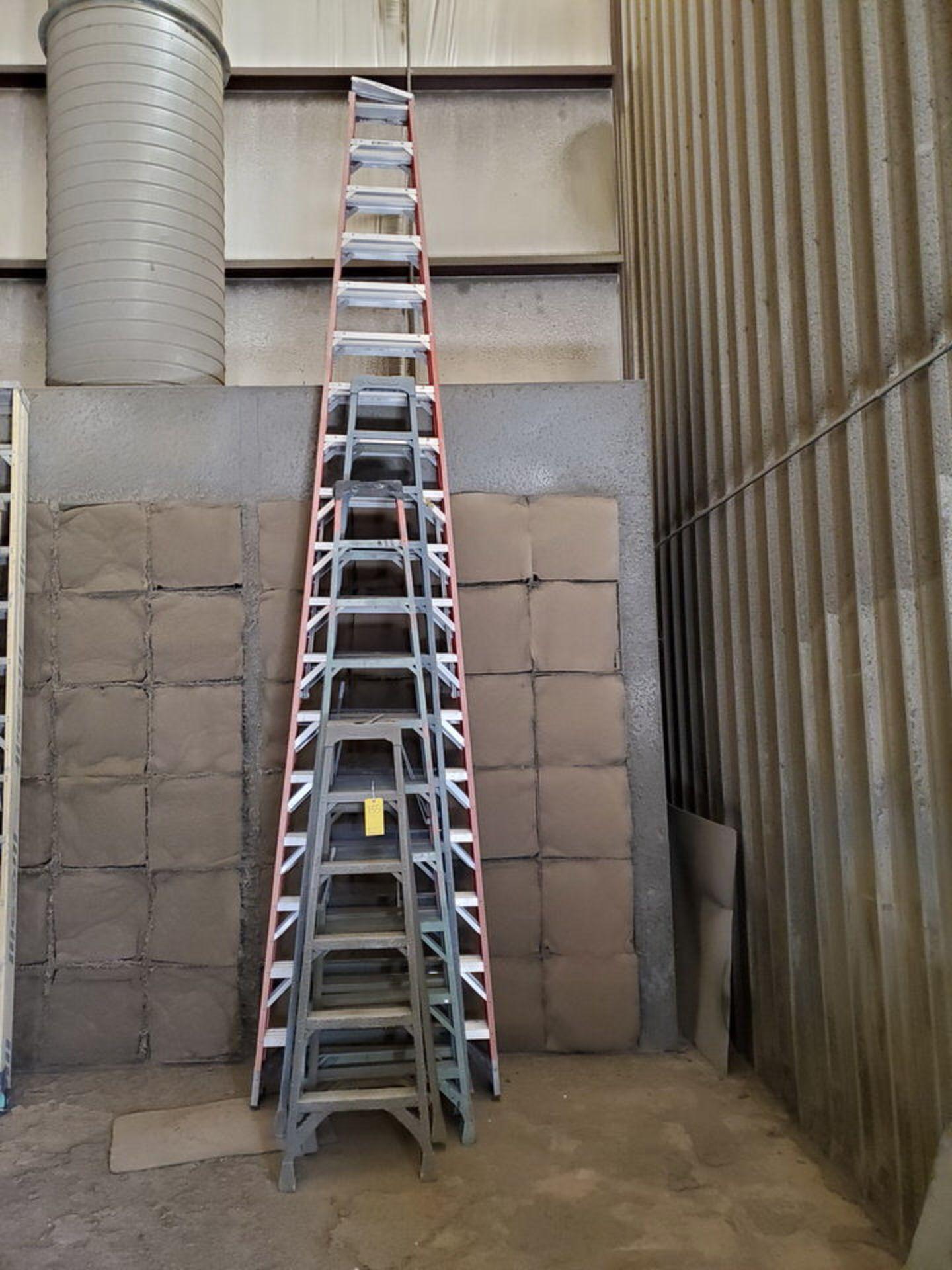 (4) Assorted Fiberglass Platform Ladders Sizes: 6', 10', 12', 18'