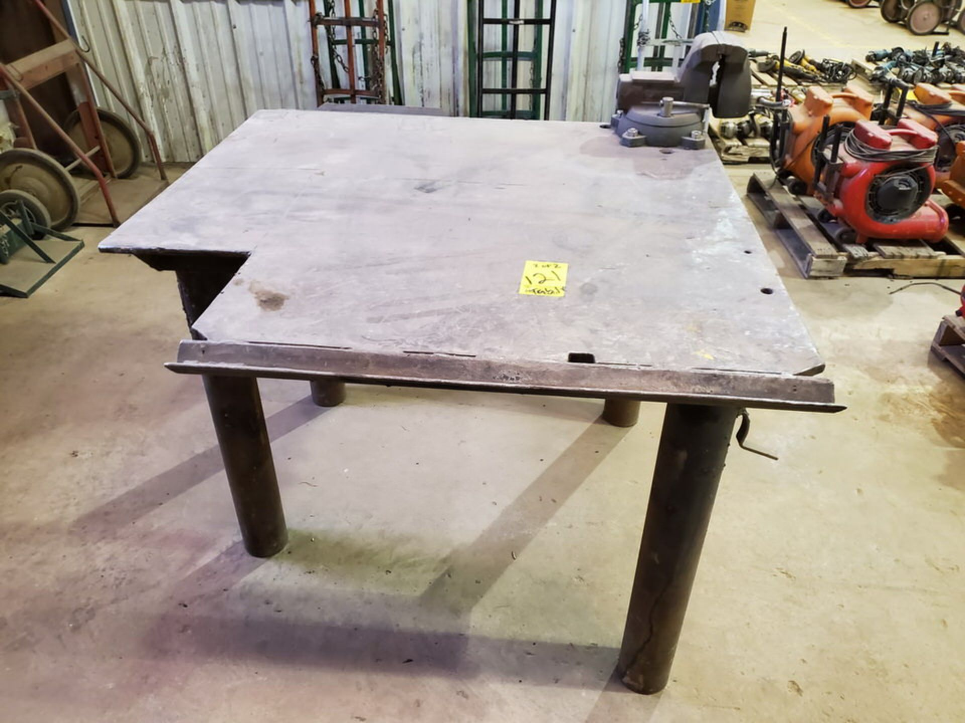 "(2) Stl Welding Tables (1) 49"" x 55"" x 36""H, W/ 6"" Vise; (1) 48"" x 72"" x 36""H (Matl. Excluded)"