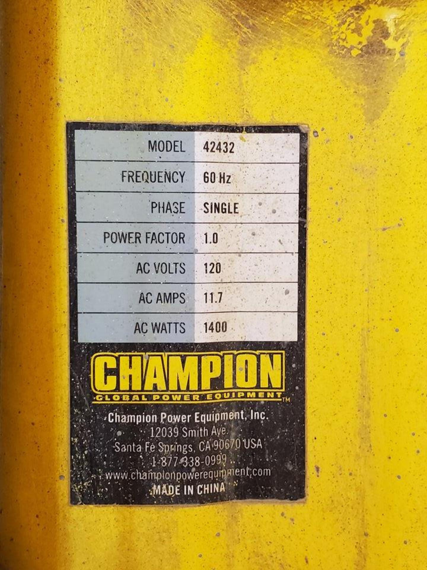 Champion 42432 Portable Generator 1400W, W/ 80cc Engine, 1PH, 60HZ, 120V, 11.7A - Image 7 of 7