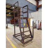"Stl 4-Step Roling Platform Ladder 5'3"" x 3' x 8'9""H; No Cap."