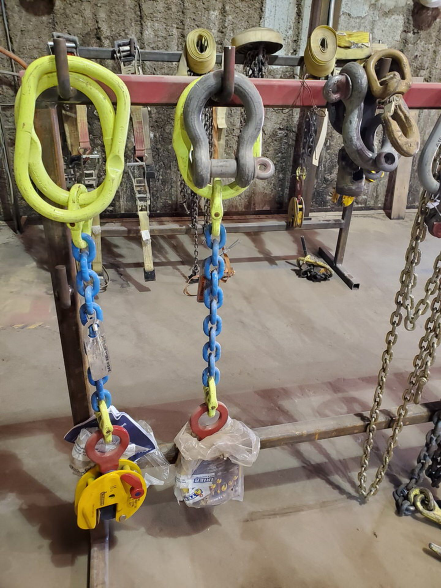 Assorted Lifting Chains & Straps W/ Rack 1 Ton & Other - Image 6 of 6