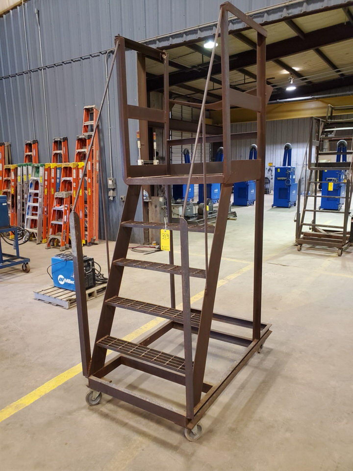 """Stl 4-Step Roling Platform Ladder 5'3"""" x 3' x 8'9""""H; No Cap. - Image 3 of 6"""