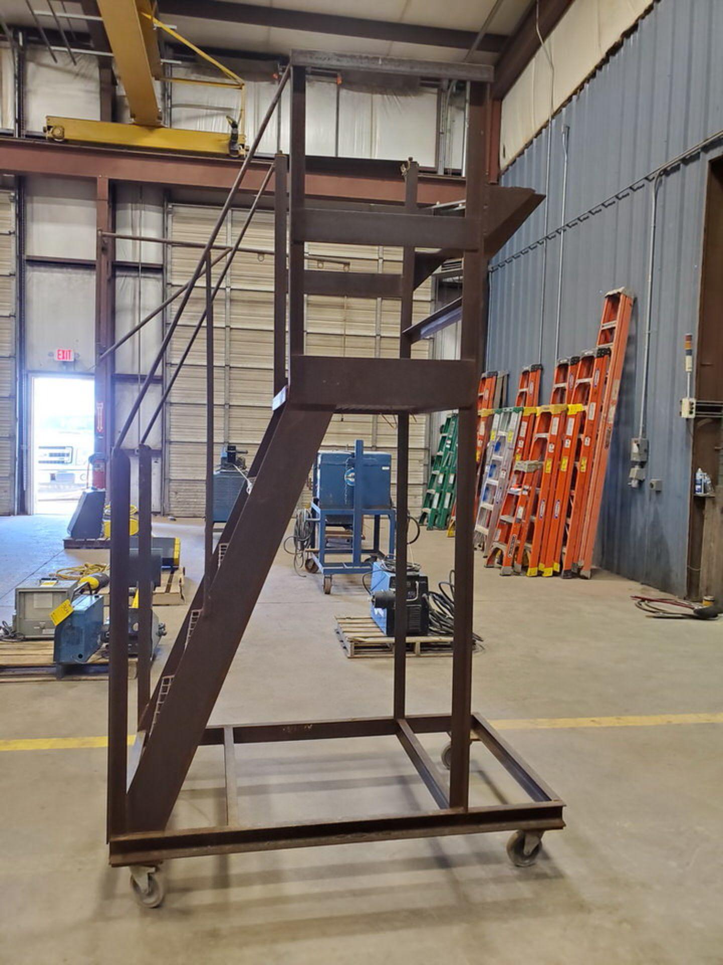 """Stl 4-Step Roling Platform Ladder 5'3"""" x 3' x 8'9""""H; No Cap. - Image 4 of 6"""