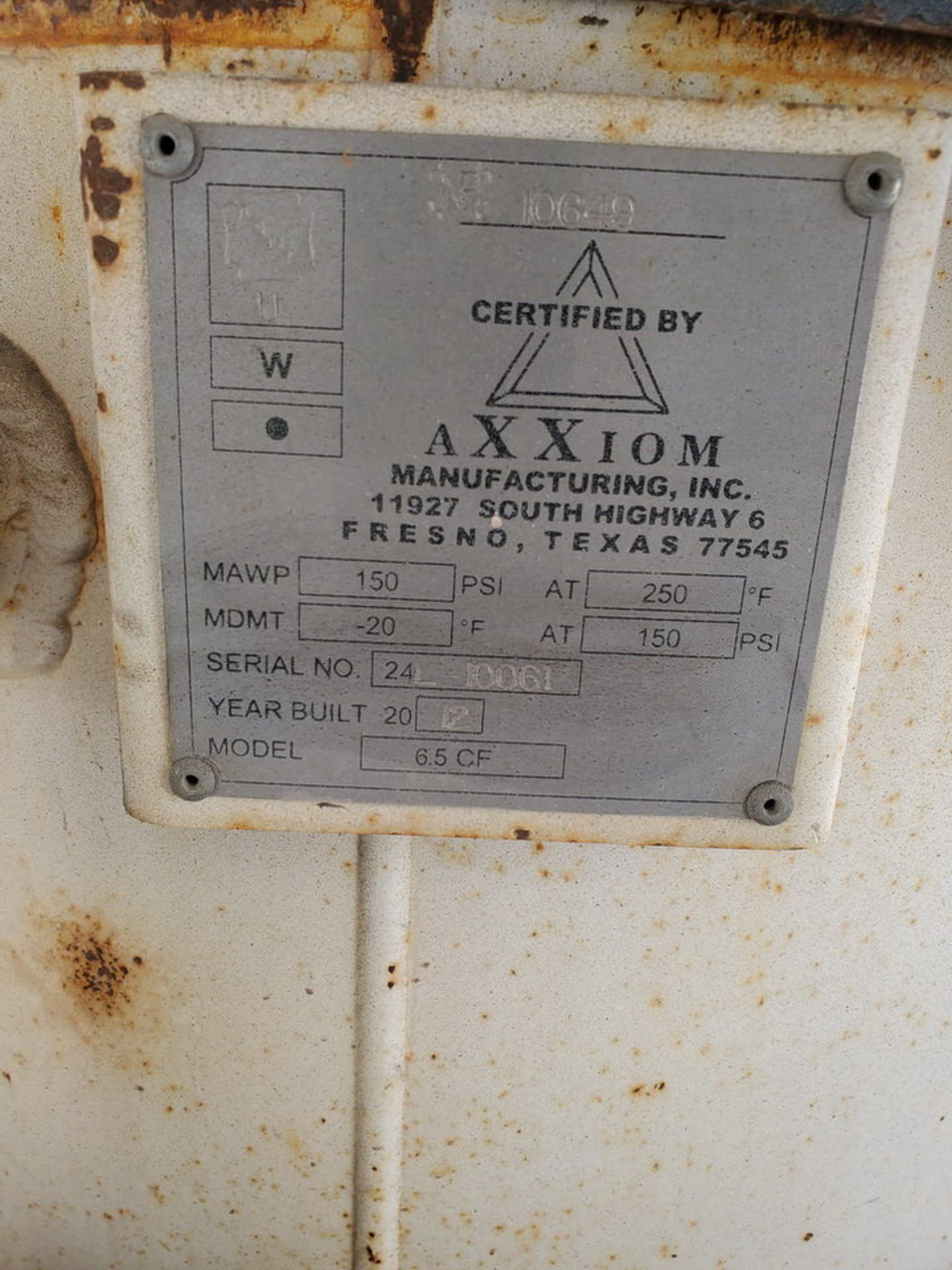 Schmidt 12' Portable Abrasive Sand Blaster Pot 150psi@250F, -20F@150psi; NB# 10649 - Image 9 of 9