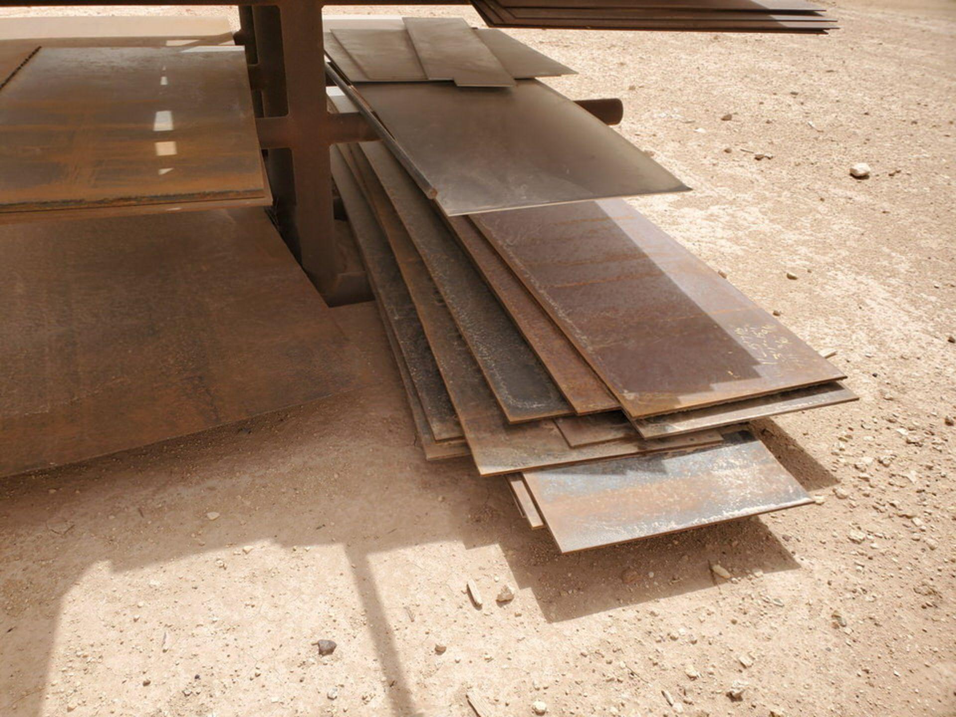 "Flat Bar & Metal Sheets L: 3' - 15', W: 1' - 5'7-1/2"", Thk: 3/16"" - 9/16""; W/ Racks - Image 11 of 12"