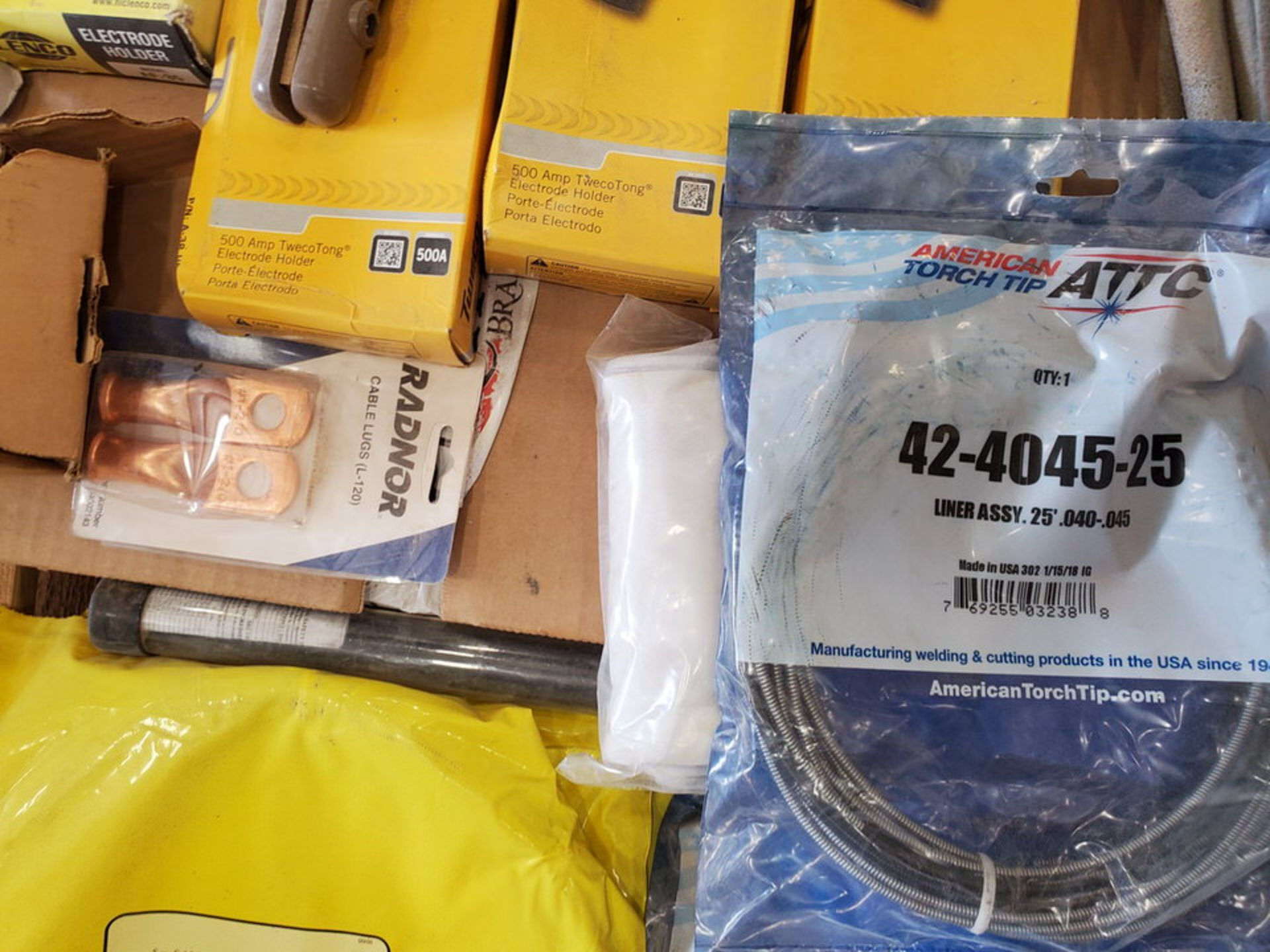 Assorted Welding Material To Include But Not Limited To: Electrode Holders, Gloves, Hoses, Rods, - Image 9 of 12