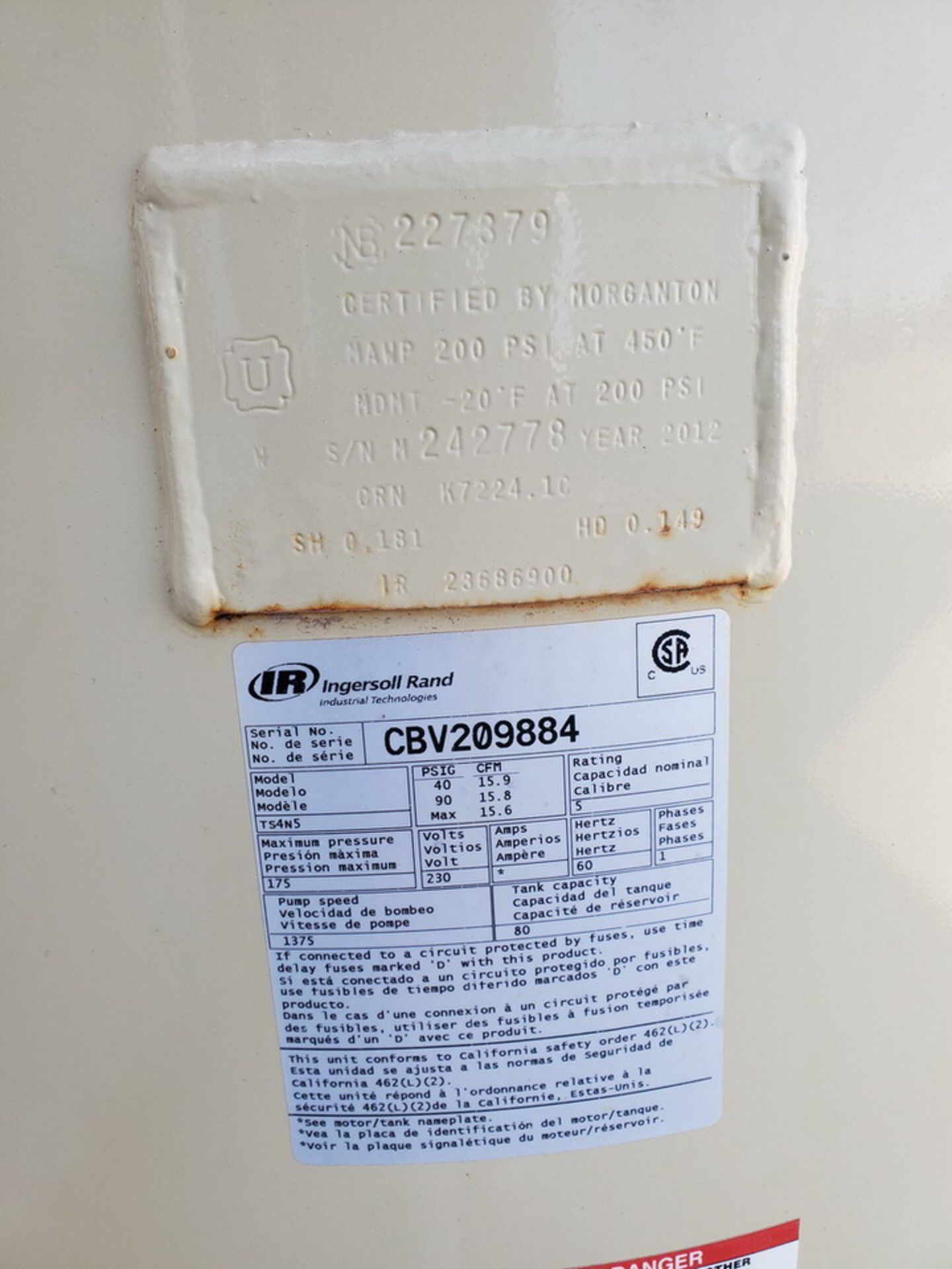 IR TS4N5 Air Compressor 230V, 1PH, 60HZ, MAWP-175psi - Image 9 of 9