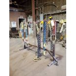 Assorted Lifting Chains & Straps W/ Rack 1 Ton & Other
