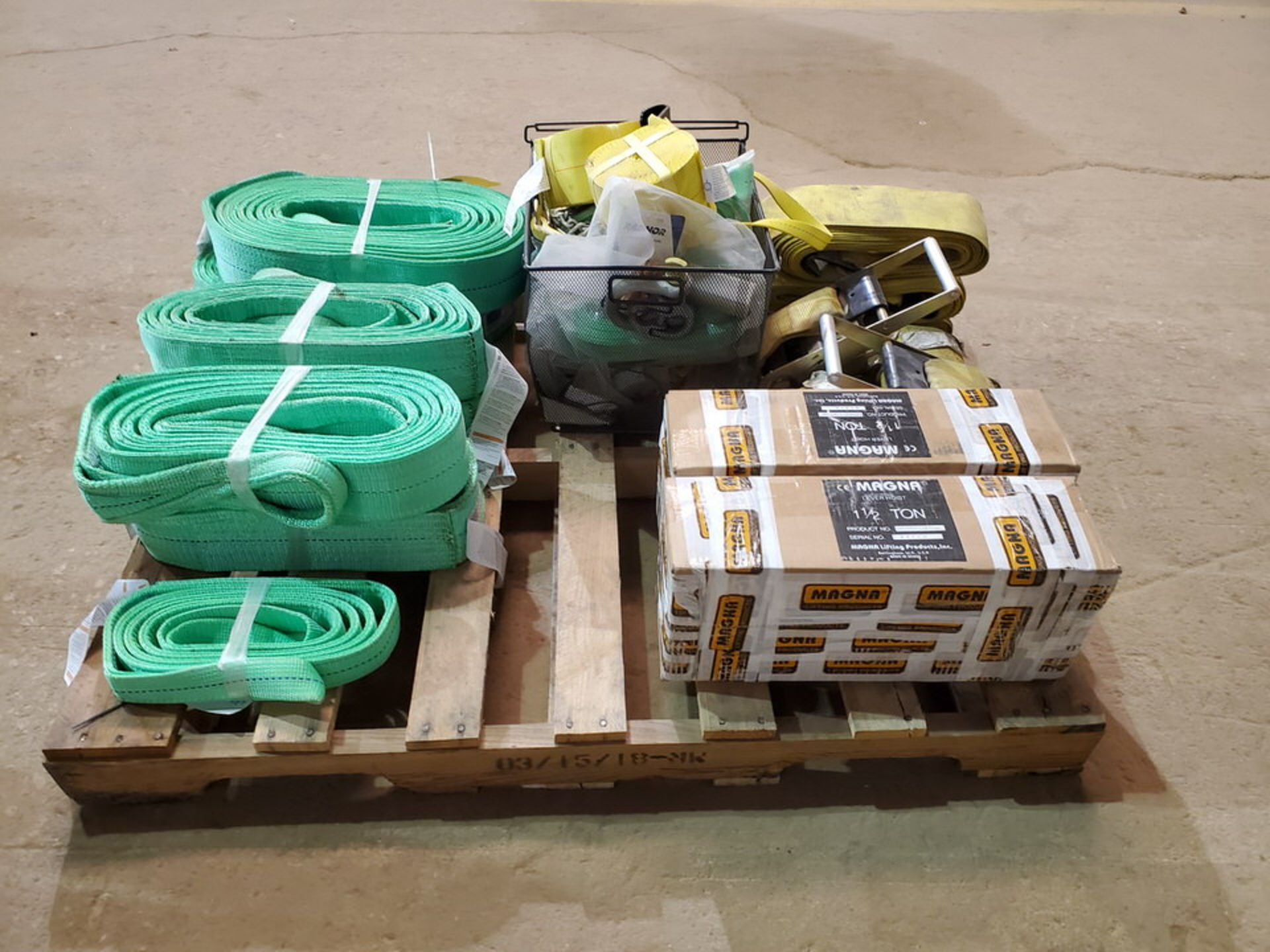 Assorted Lifting Equipment To Include But Not Limited To:Poly Lifting Winch Straps, Chains, 1-1/2 - Image 4 of 7