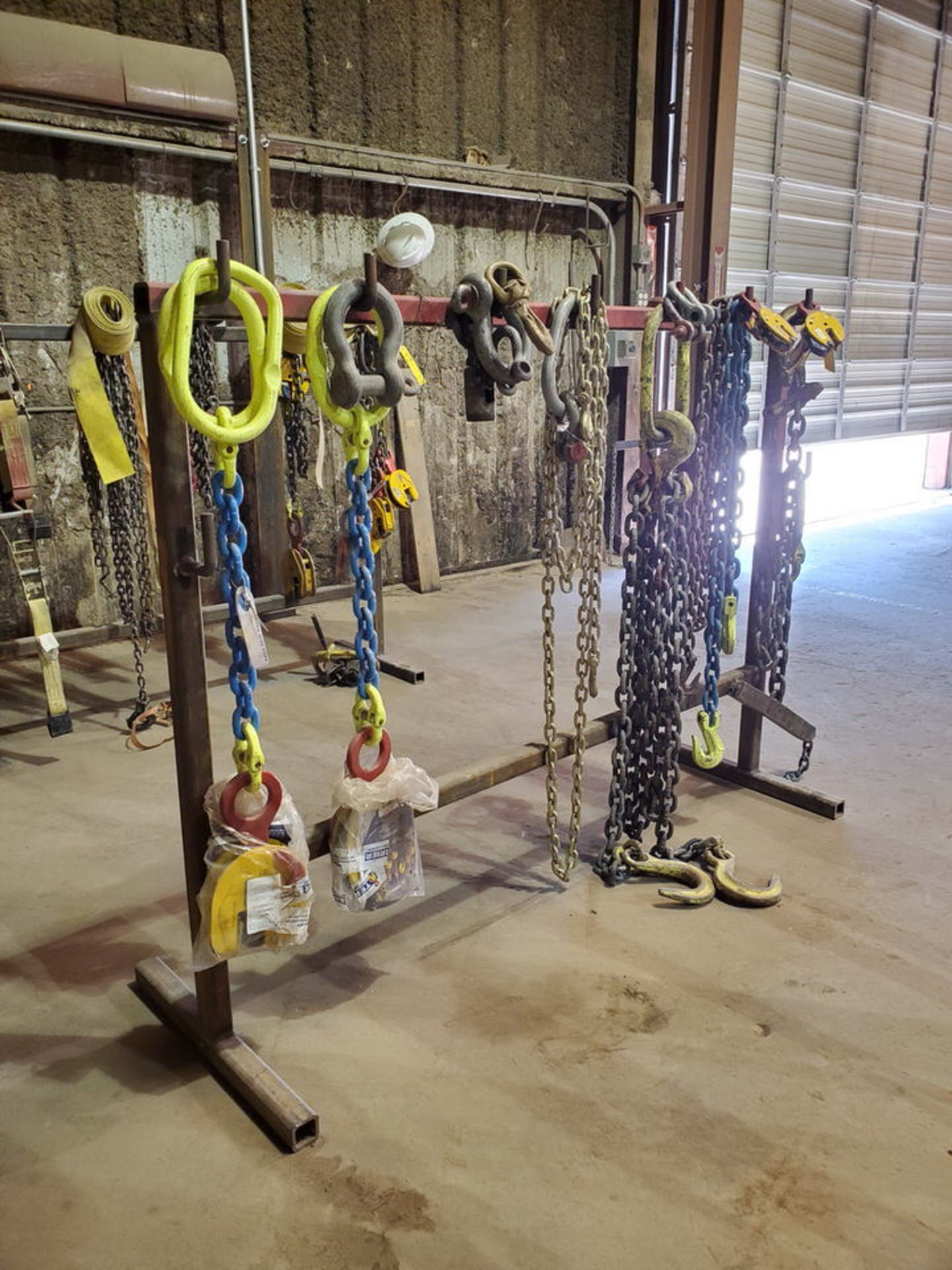 Assorted Lifting Chains & Straps W/ Rack 1 Ton & Other - Image 2 of 6