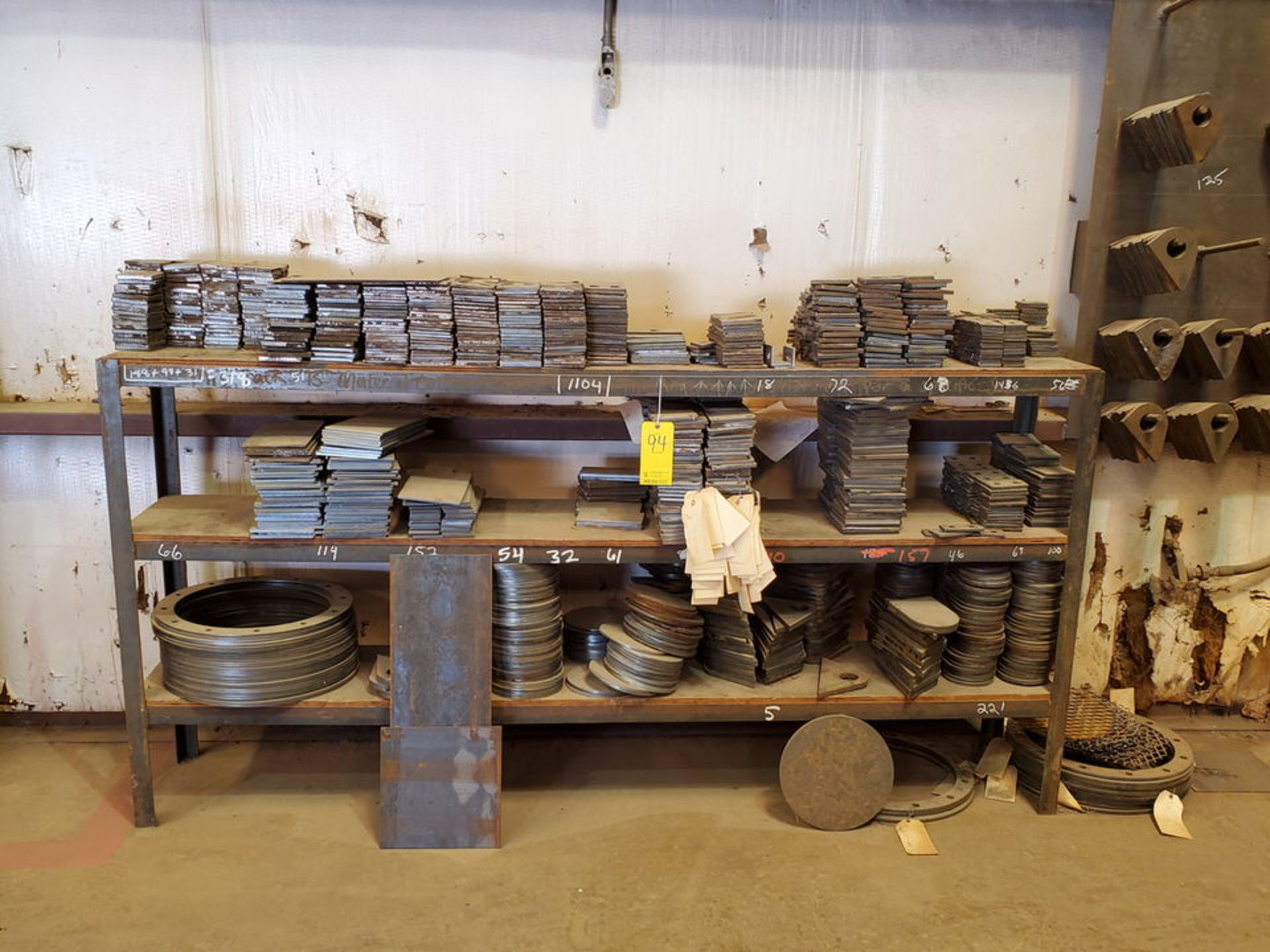 """Assorted Work In Process Material W/ Rack, 16"""" x 96"""" x 48"""""""