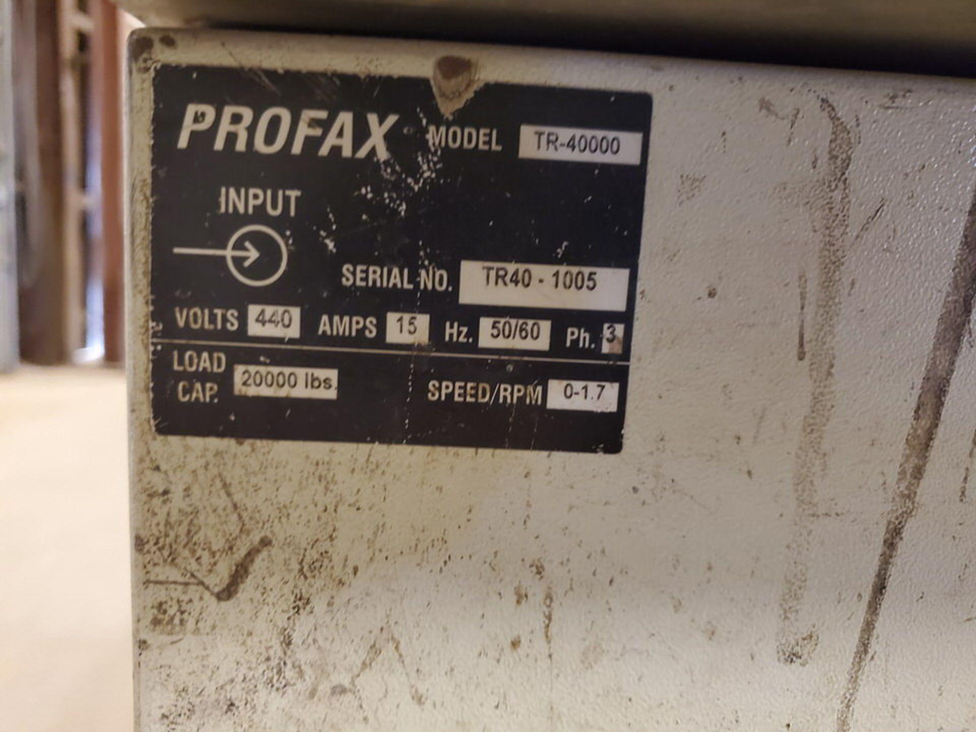 "Profax TR-40000 Turn Roll 20H Cap., 440V, 15A, 50/60HZ, 3PH, RPM: 0-1.7, 6"" Wheel Dia. - Image 8 of 8"