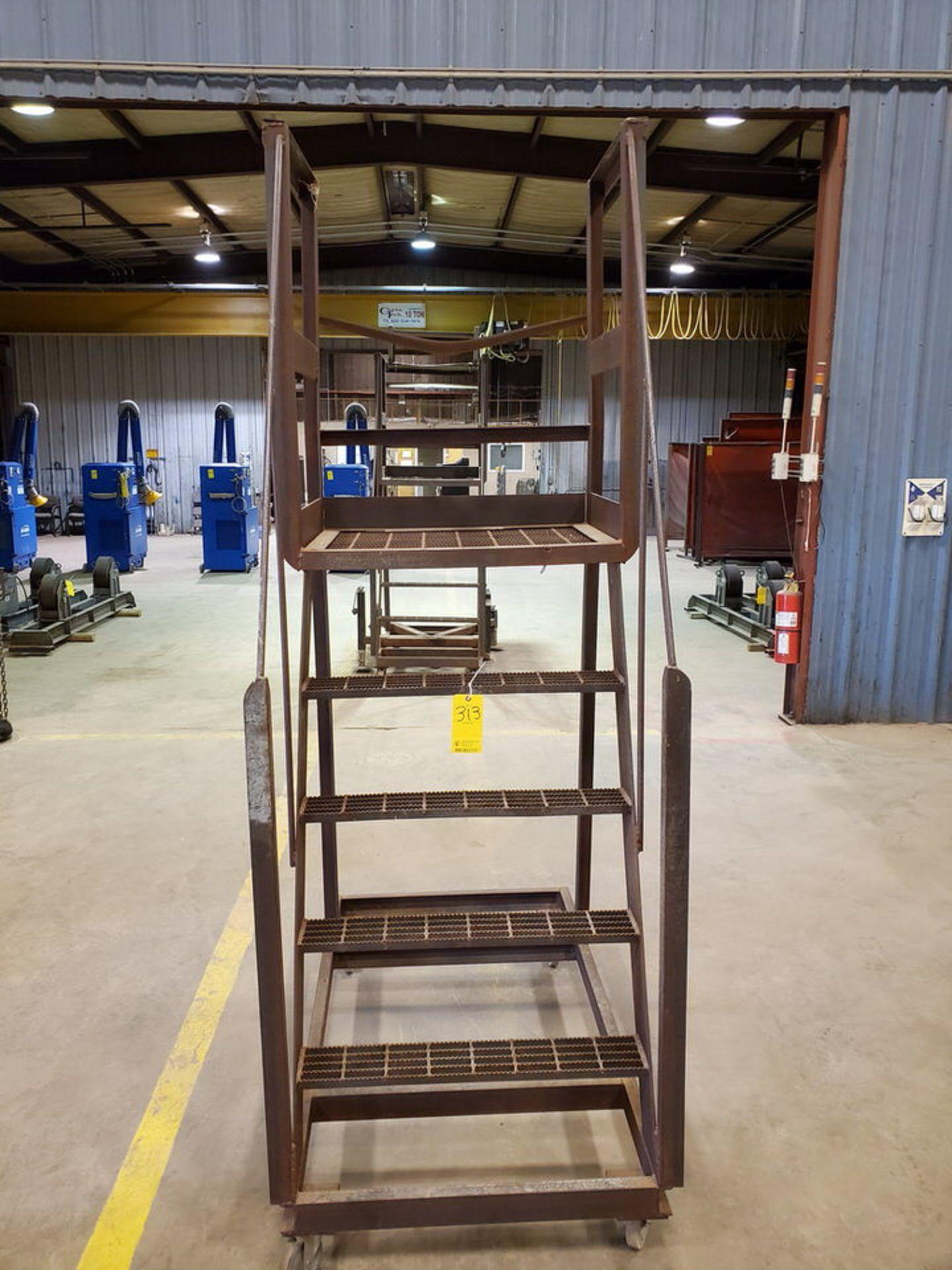 """Stl 4-Step Roling Platform Ladder 5'3"""" x 3' x 8'9""""H; No Cap. - Image 2 of 6"""