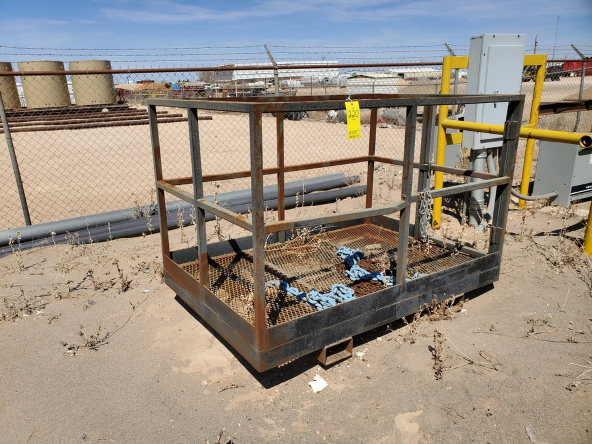"Forklift Stl Work Basket 72"" x 48"" x 50""H; W/ Lifting Chains"