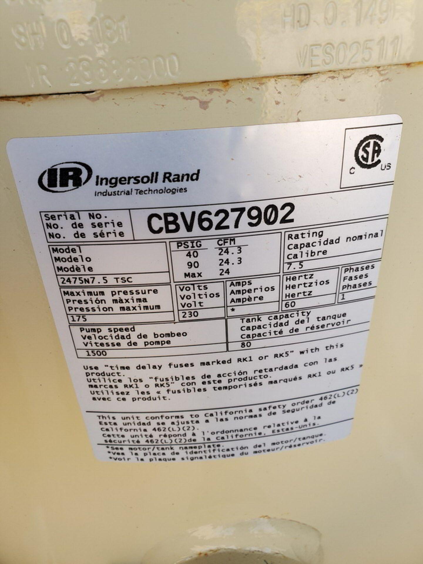 IR Air Compressor 230V, 60HZ, 1PH, 175 MAWP - Image 4 of 4