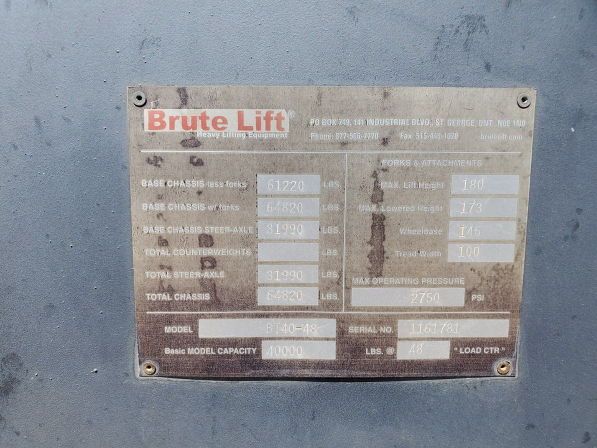2012 Brute Lift BT40-48 Forklift 40H Cap., Engine Hrs: 3,389.3 - Image 16 of 17