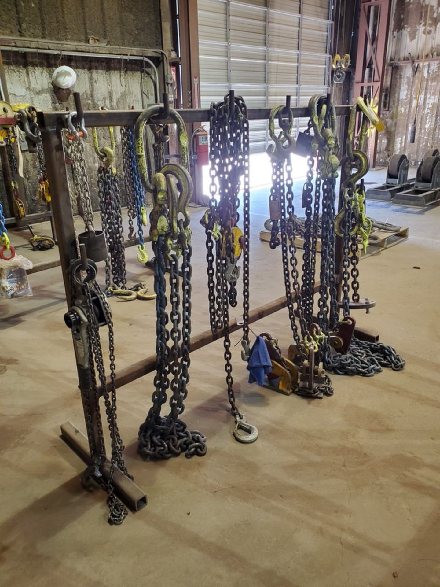 Assorted Lifting Chains & Straps W/ Rack 1 Ton & Other - Image 2 of 8