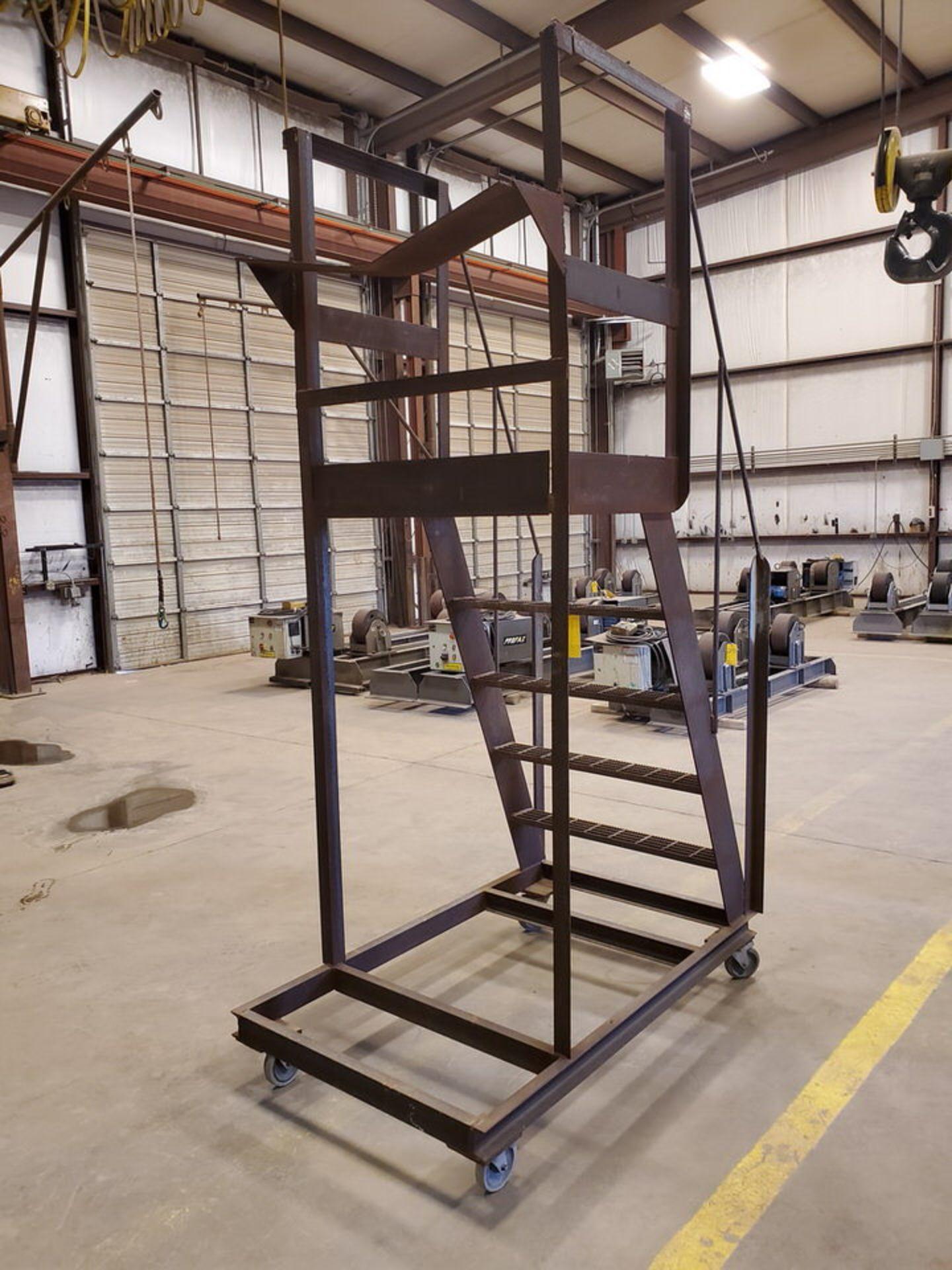 """Stl 4-Step Roling Platform Ladder 5'3"""" x 3' x 8'9""""H; No Cap. - Image 6 of 6"""