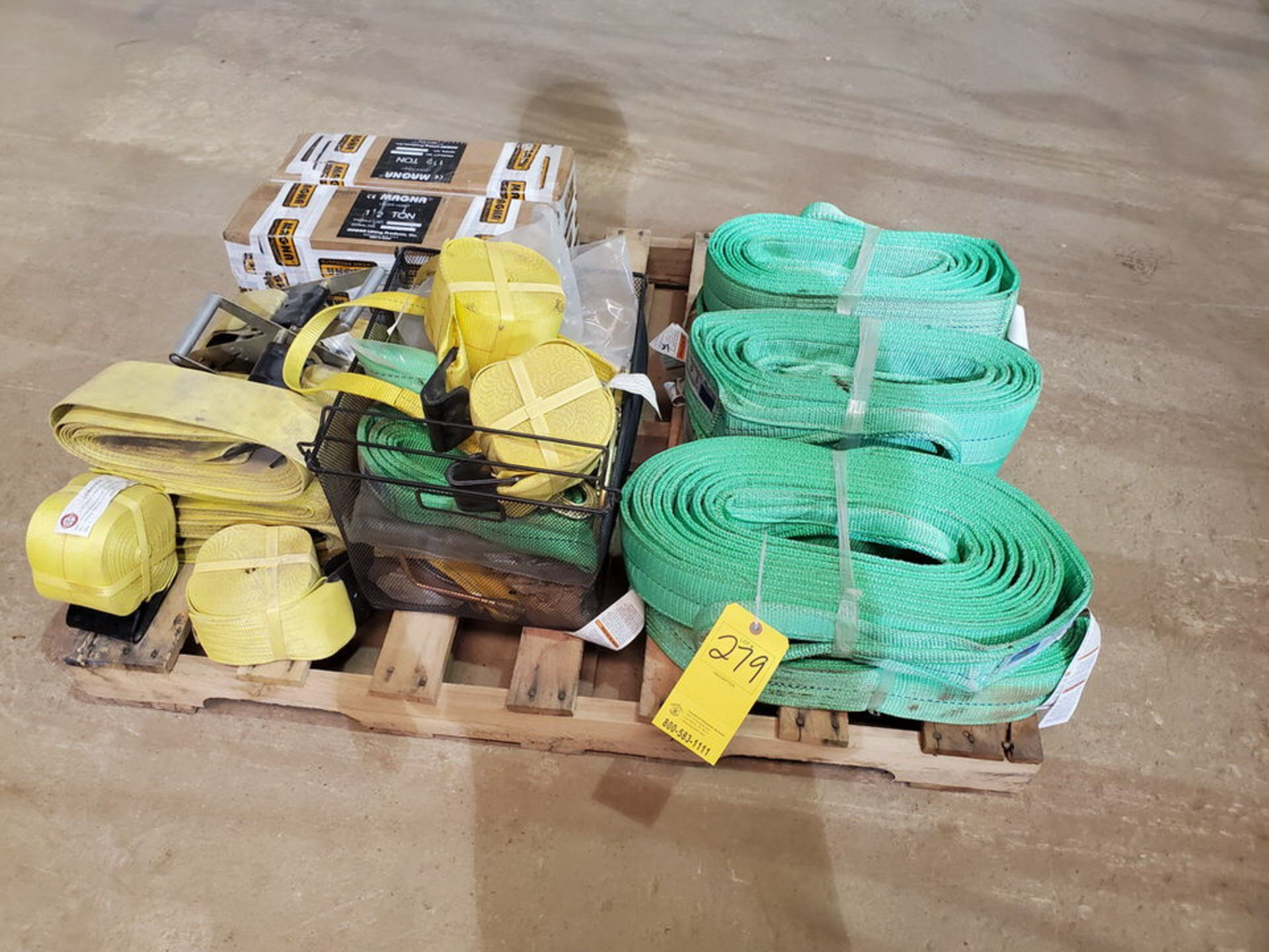 Assorted Lifting Equipment To Include But Not Limited To:Poly Lifting Winch Straps, Chains, 1-1/2