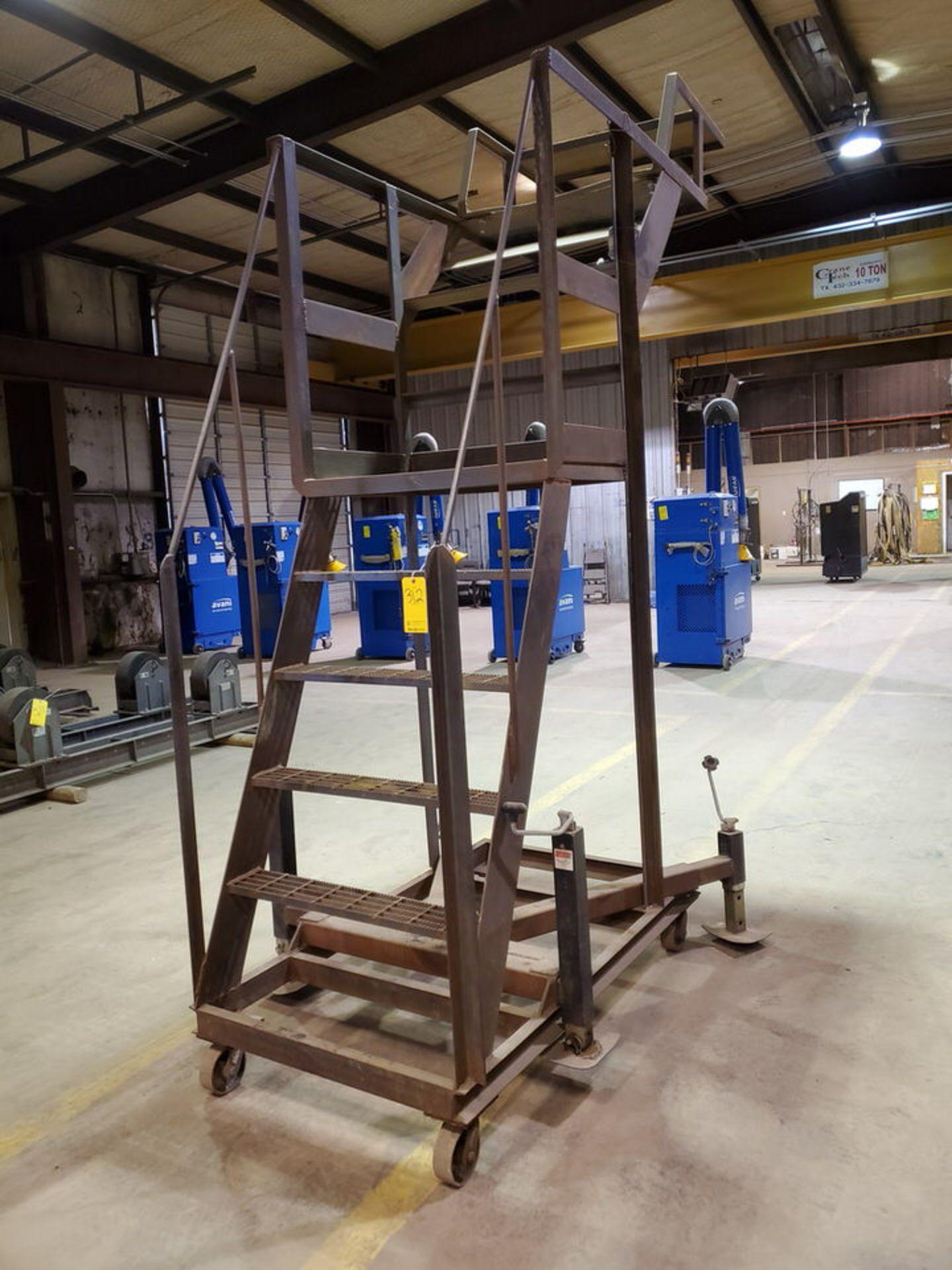 """Stl 4-Step Roling Platform Ladder 6' x 4'6"""" x 10'H; 7K Cap."""