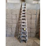 (4) Assorted Fiberglass Platform Ladders Sizes: 4', 6', 10', 14'