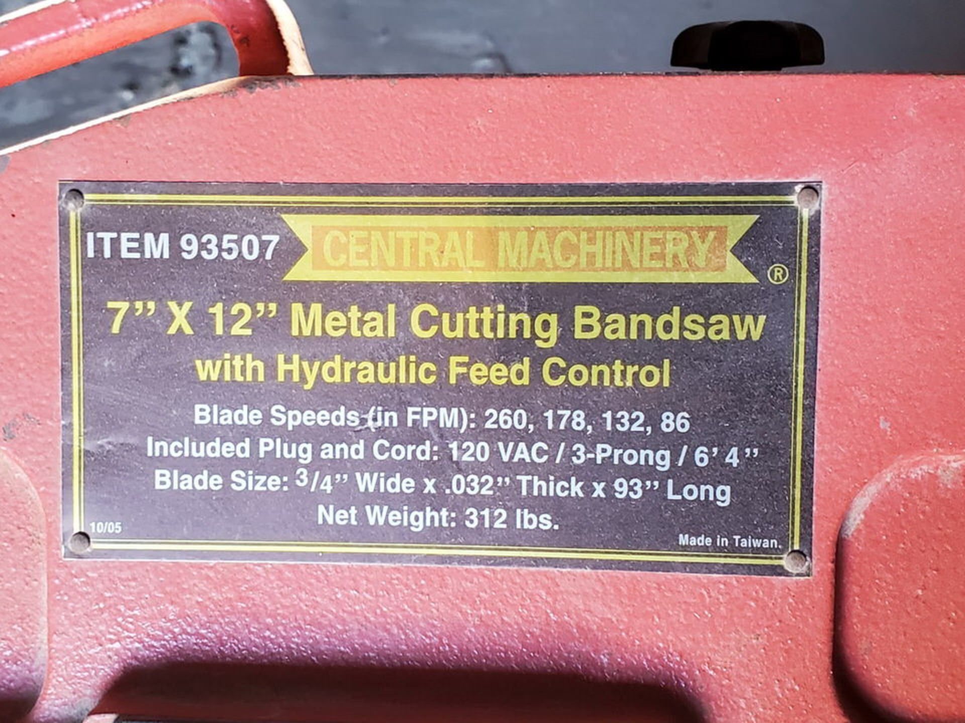 "Central Machinery 7"" x 12"" Cutting Bandsaw Blade Size: 3/4""W x .032Thk x 93""L, 120V - Image 6 of 6"