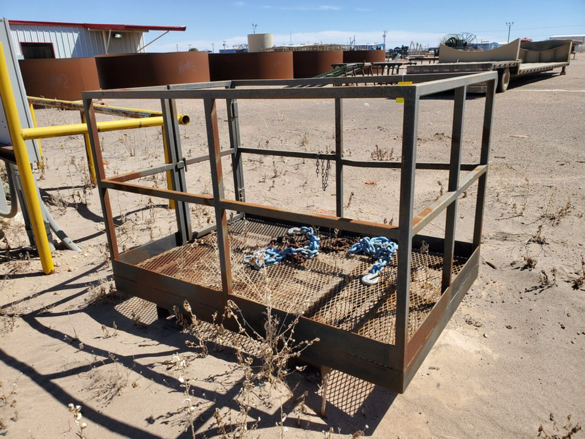 """Forklift Stl Work Basket 72"""" x 48"""" x 50""""H; W/ Lifting Chains - Image 5 of 7"""