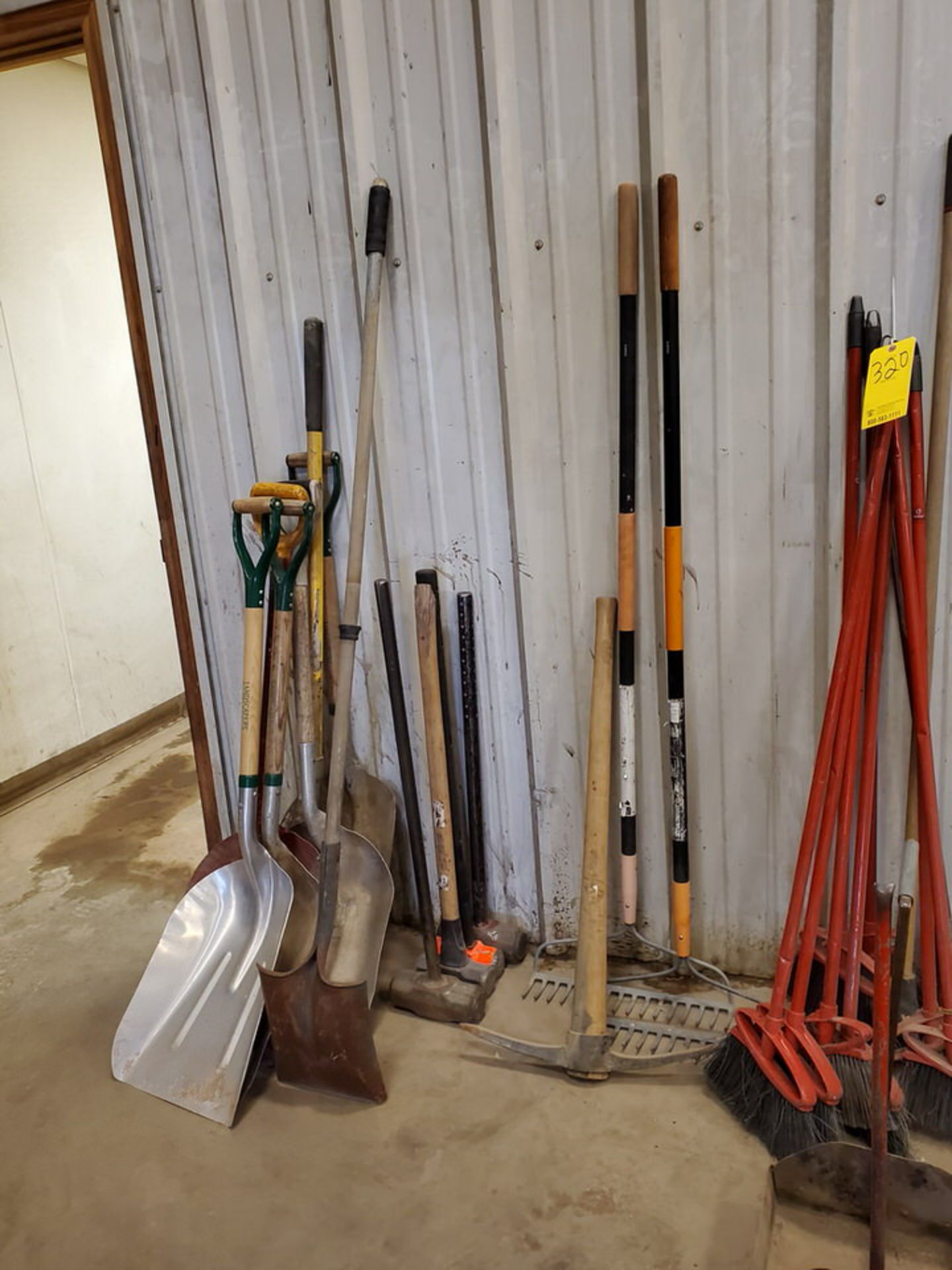 Assorted Cleaning & Yard Matl To Include But Not Limited To: Brooms, Shovels, Rakes, Dust Pans, - Image 2 of 6